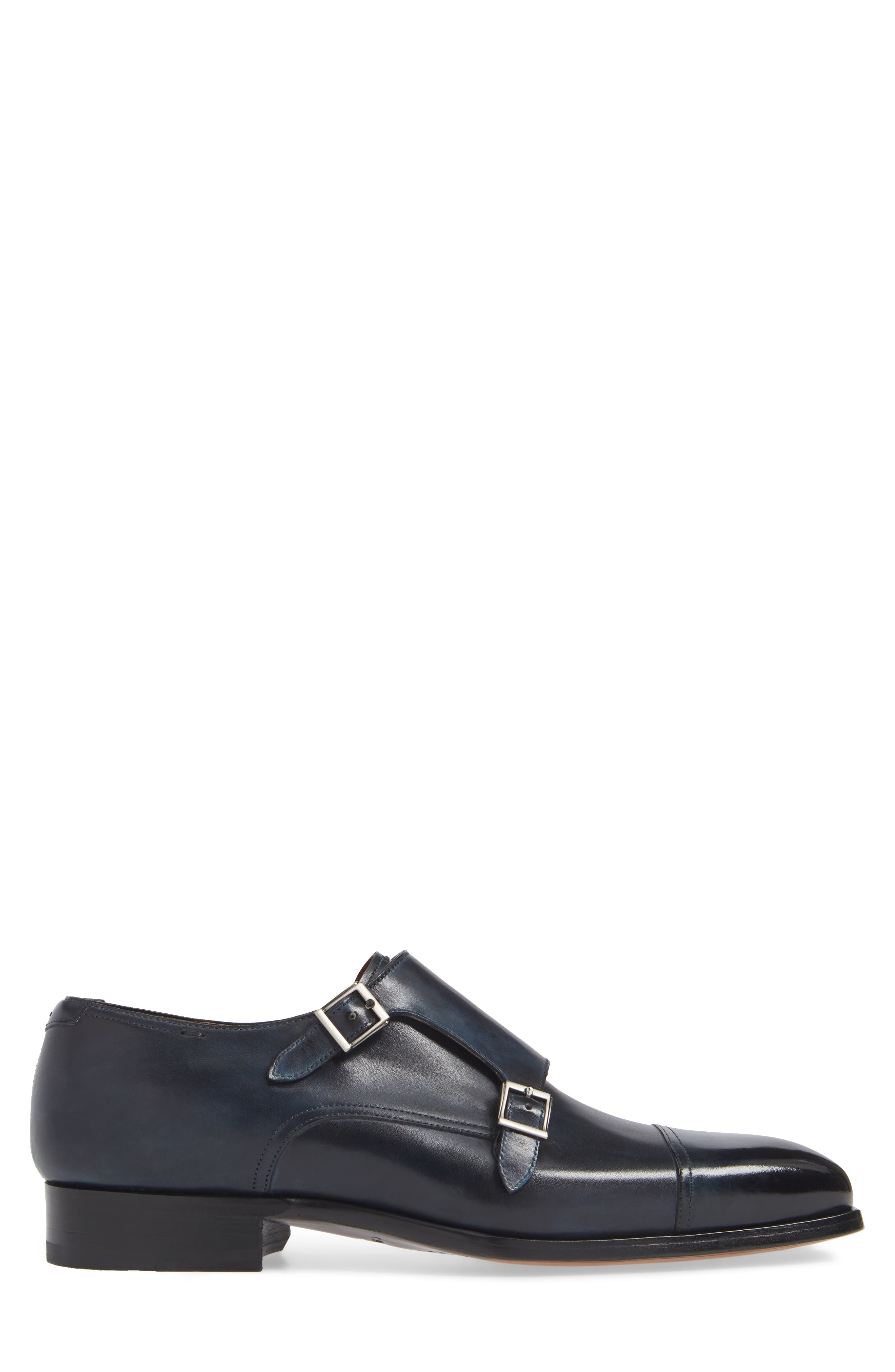 MAGNANNI,                             Wooster Double Monk Strap Shoe,                             Alternate thumbnail 3, color,                             NAVY LEATHER