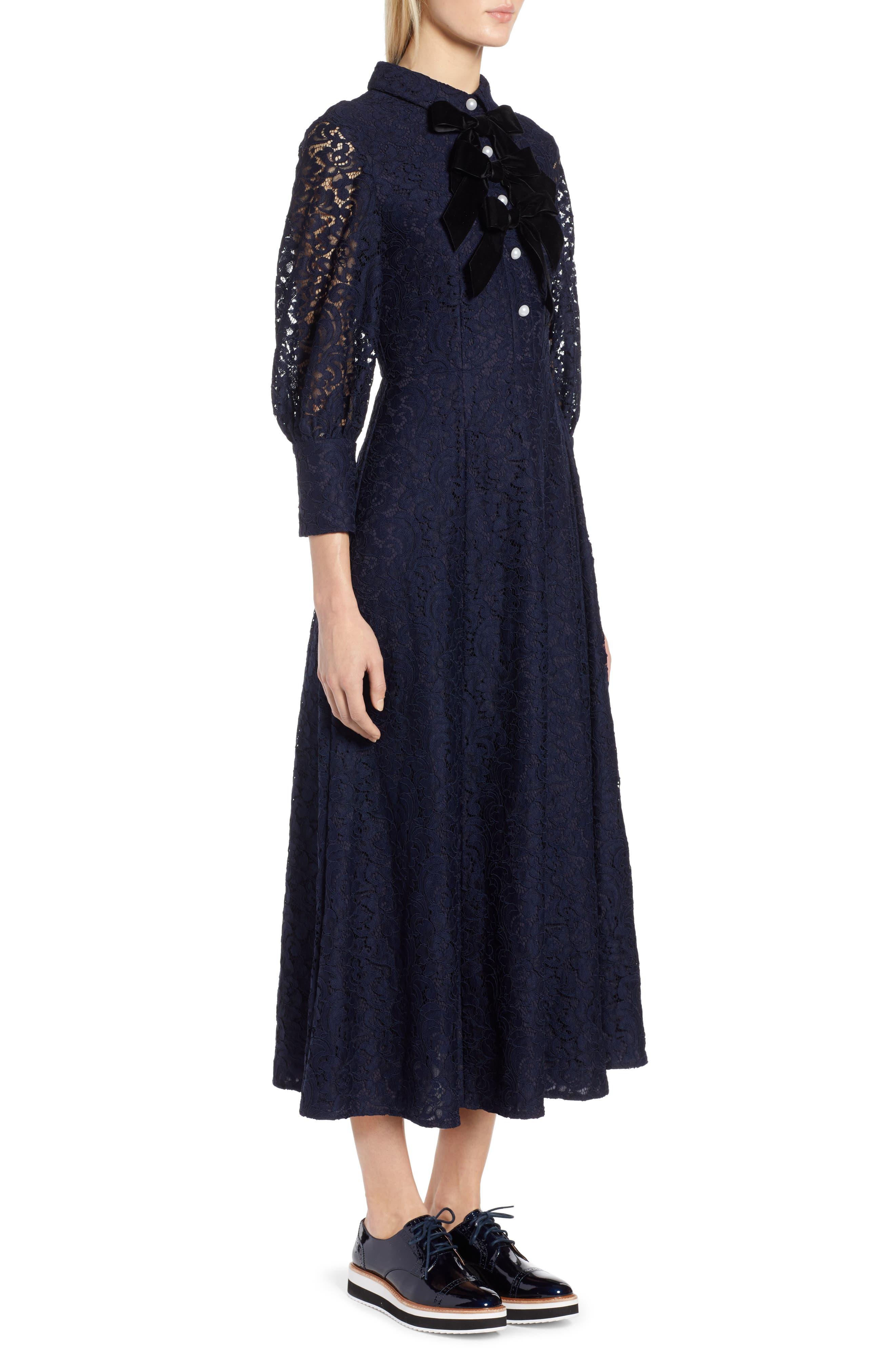 x Atlantic-Pacific Bow Detail Lace Midi Dress,                             Alternate thumbnail 4, color,                             NAVY