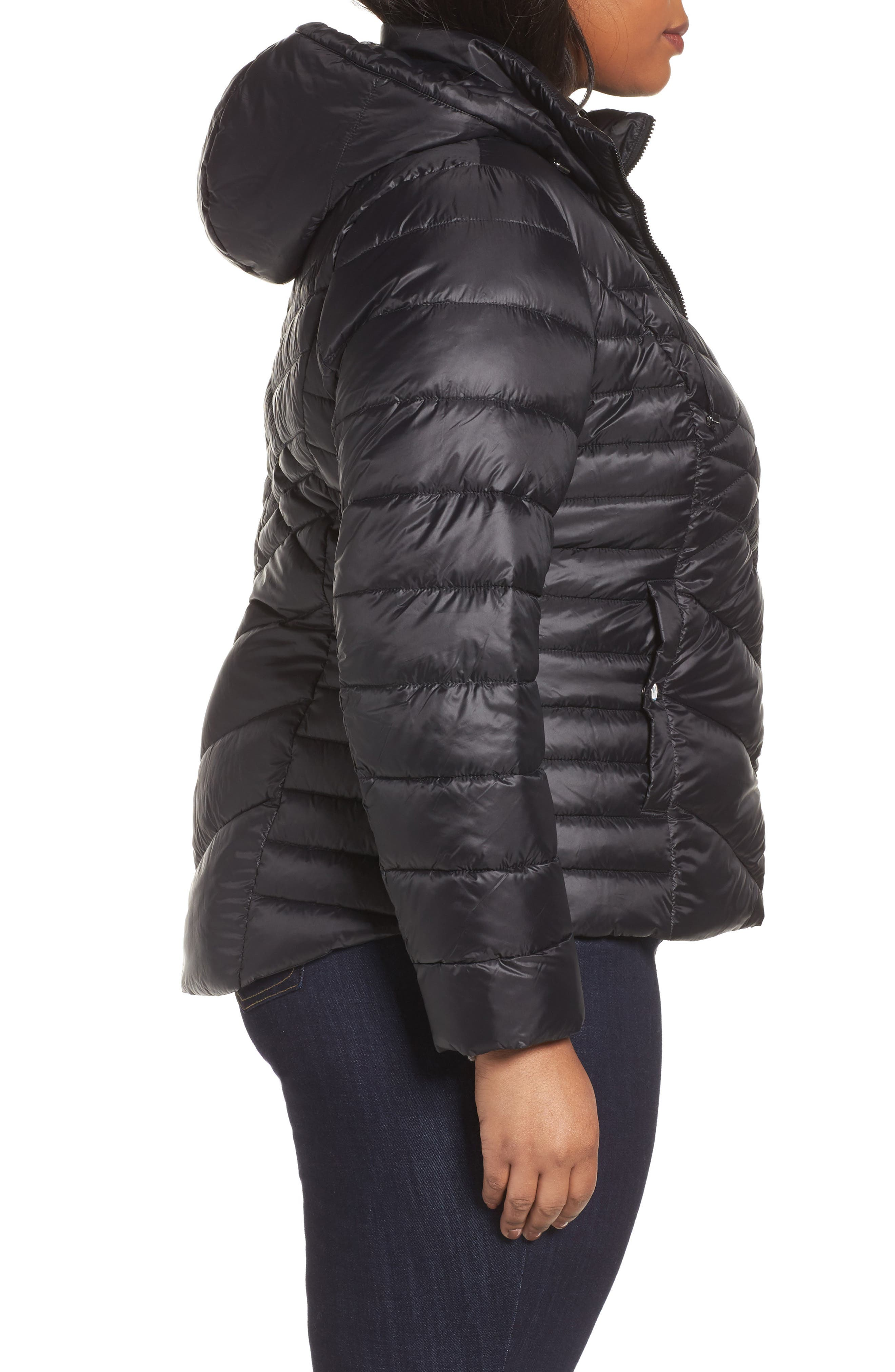 Hooded Down Blend Puffer Jacket,                             Alternate thumbnail 3, color,                             001