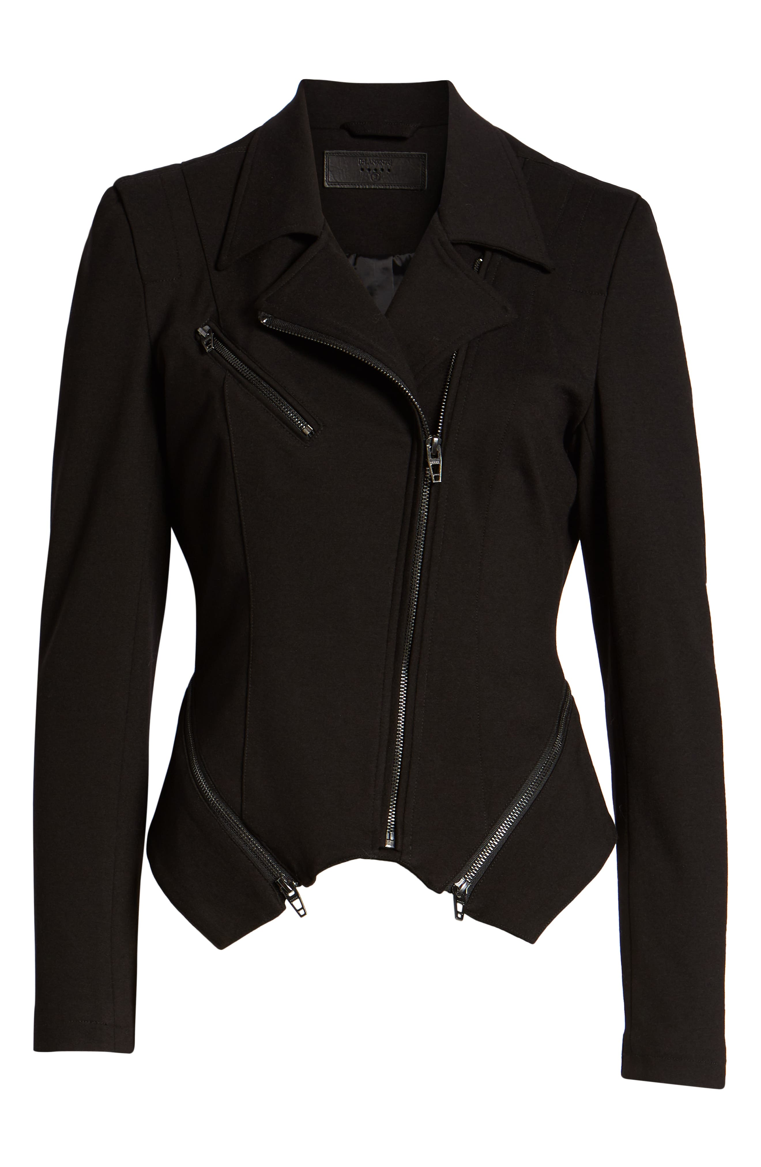 Zip Detail Fitted Ponte Jacket,                             Alternate thumbnail 6, color,                             CAVIAR
