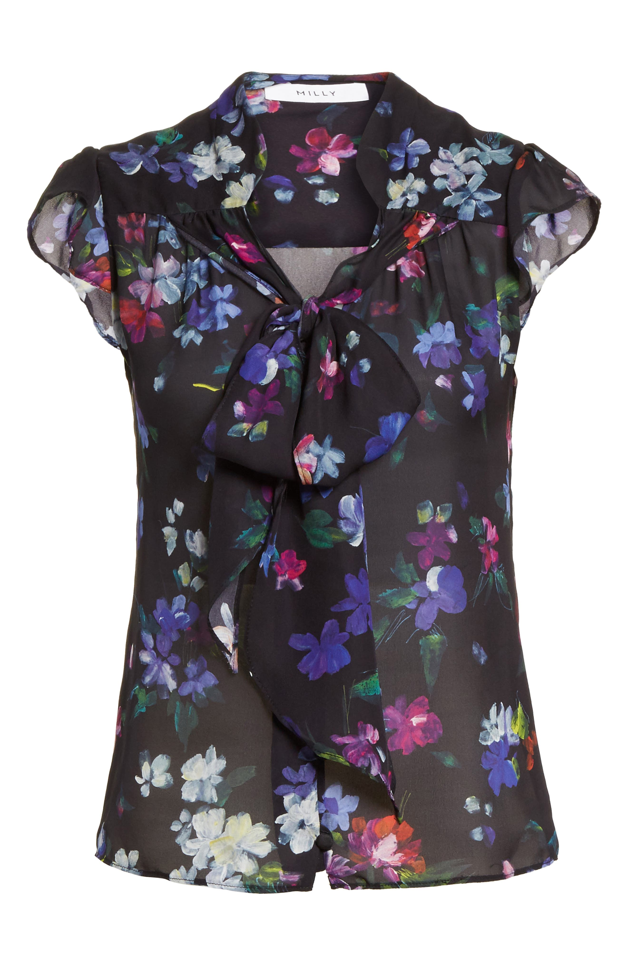 Emily Painted Floral Silk Top,                             Alternate thumbnail 6, color,                             001