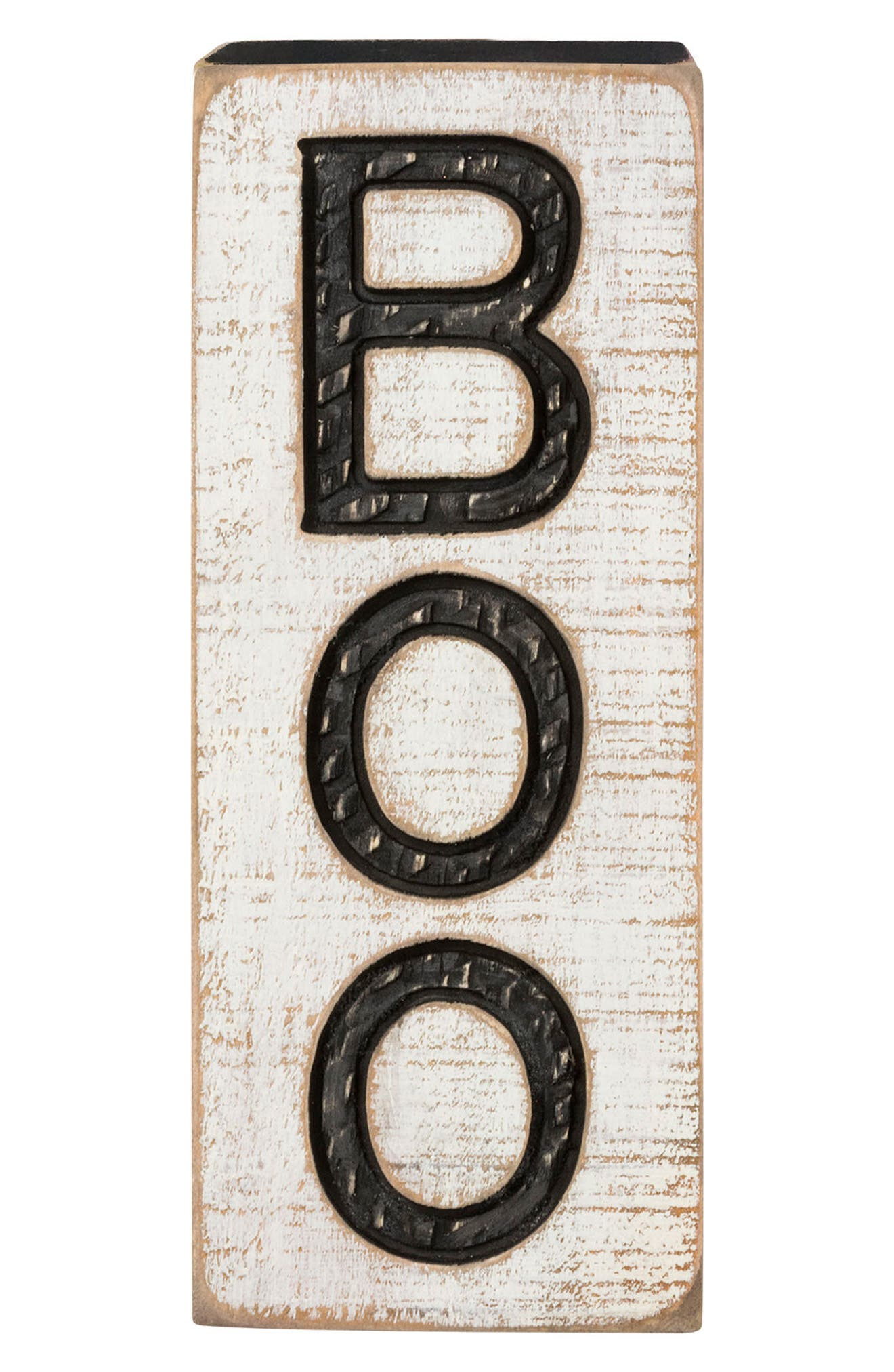 Carved Boo Sign,                             Main thumbnail 1, color,                             WHITE