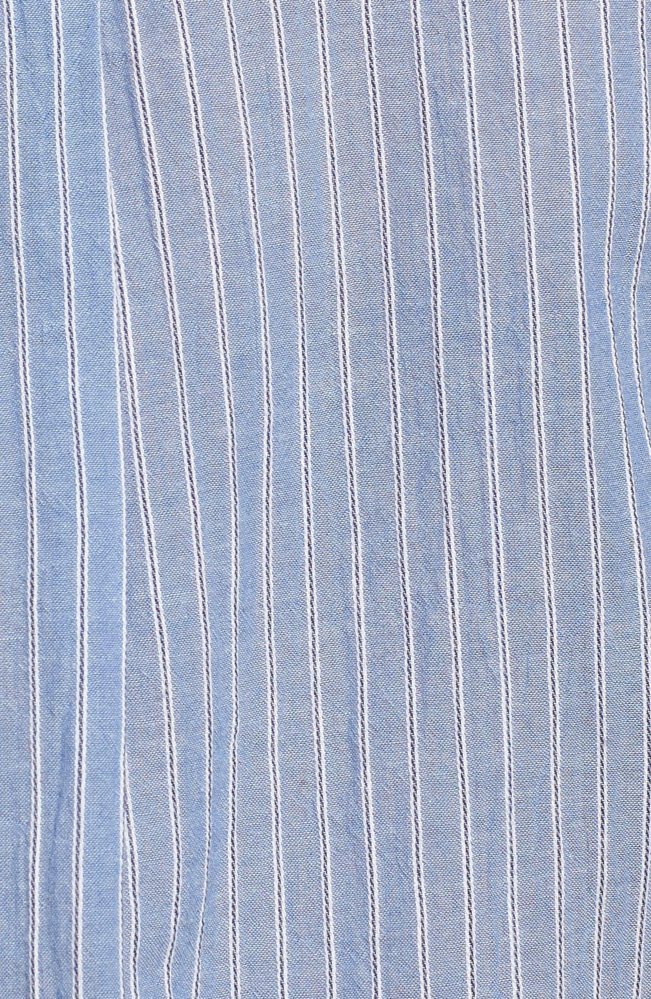 Stripe Button Front Shirt,                             Alternate thumbnail 5, color,                             BLUE AIRY STRIPE