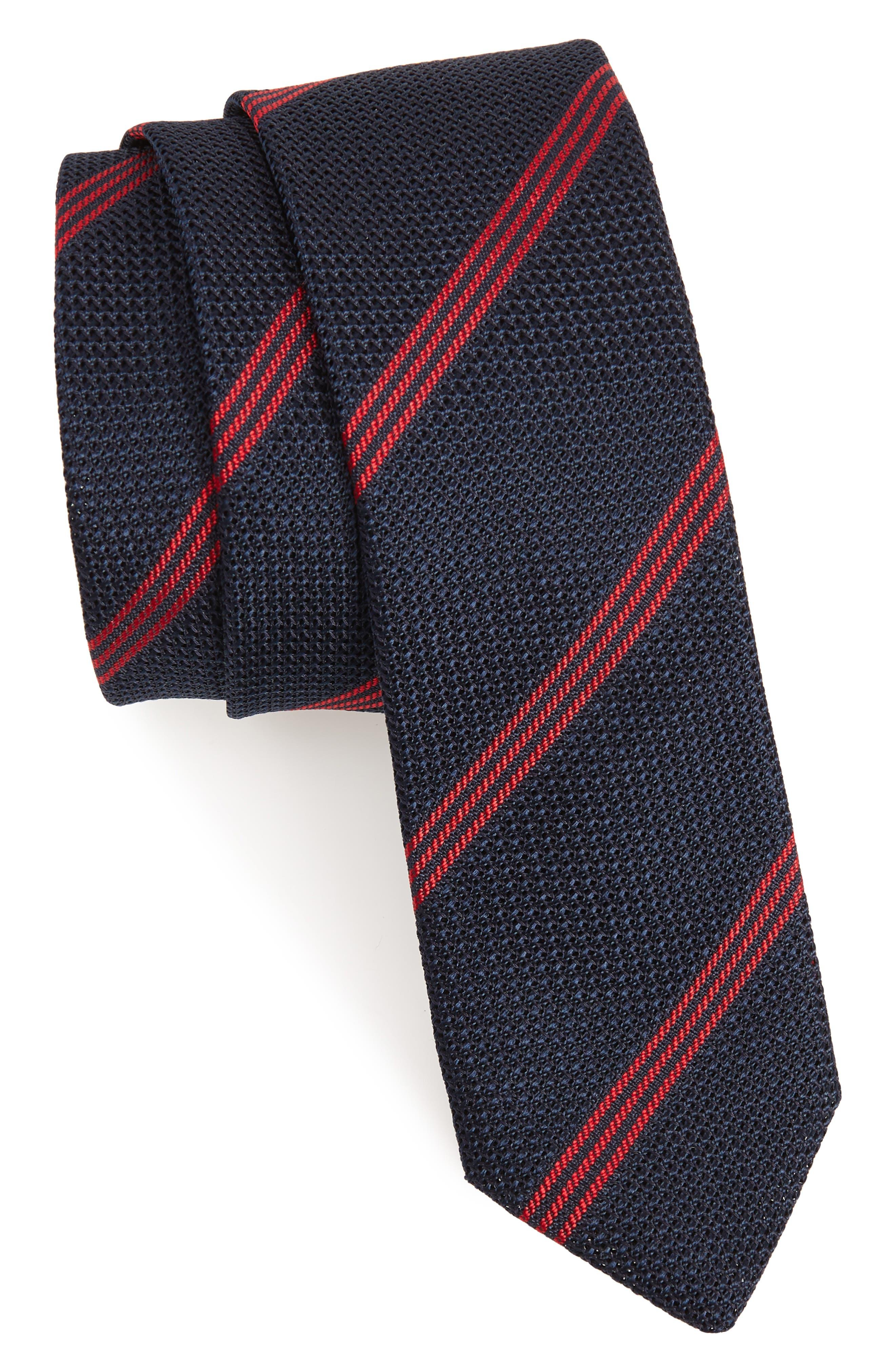 Stripe Wool Skinny Tie,                         Main,                         color, 412