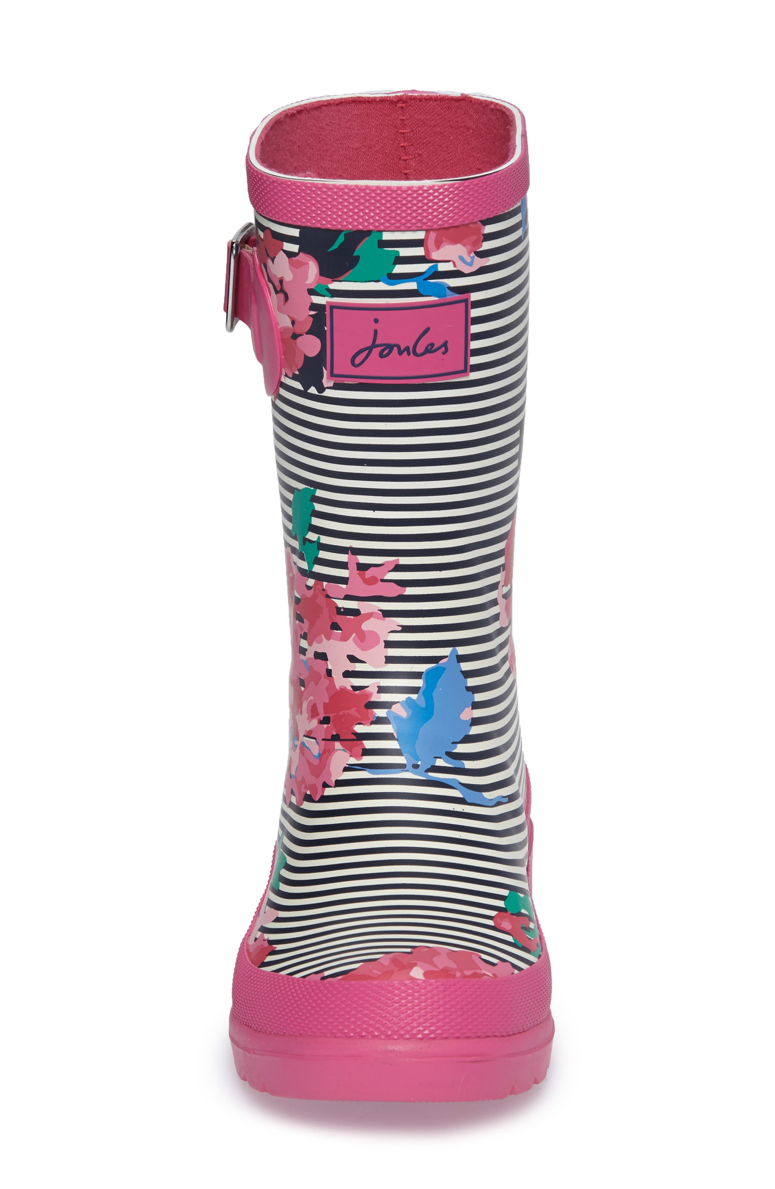 Welly Printed Waterproof Rain Boot,                             Alternate thumbnail 4, color,                             PINK STRIPE FLORAL