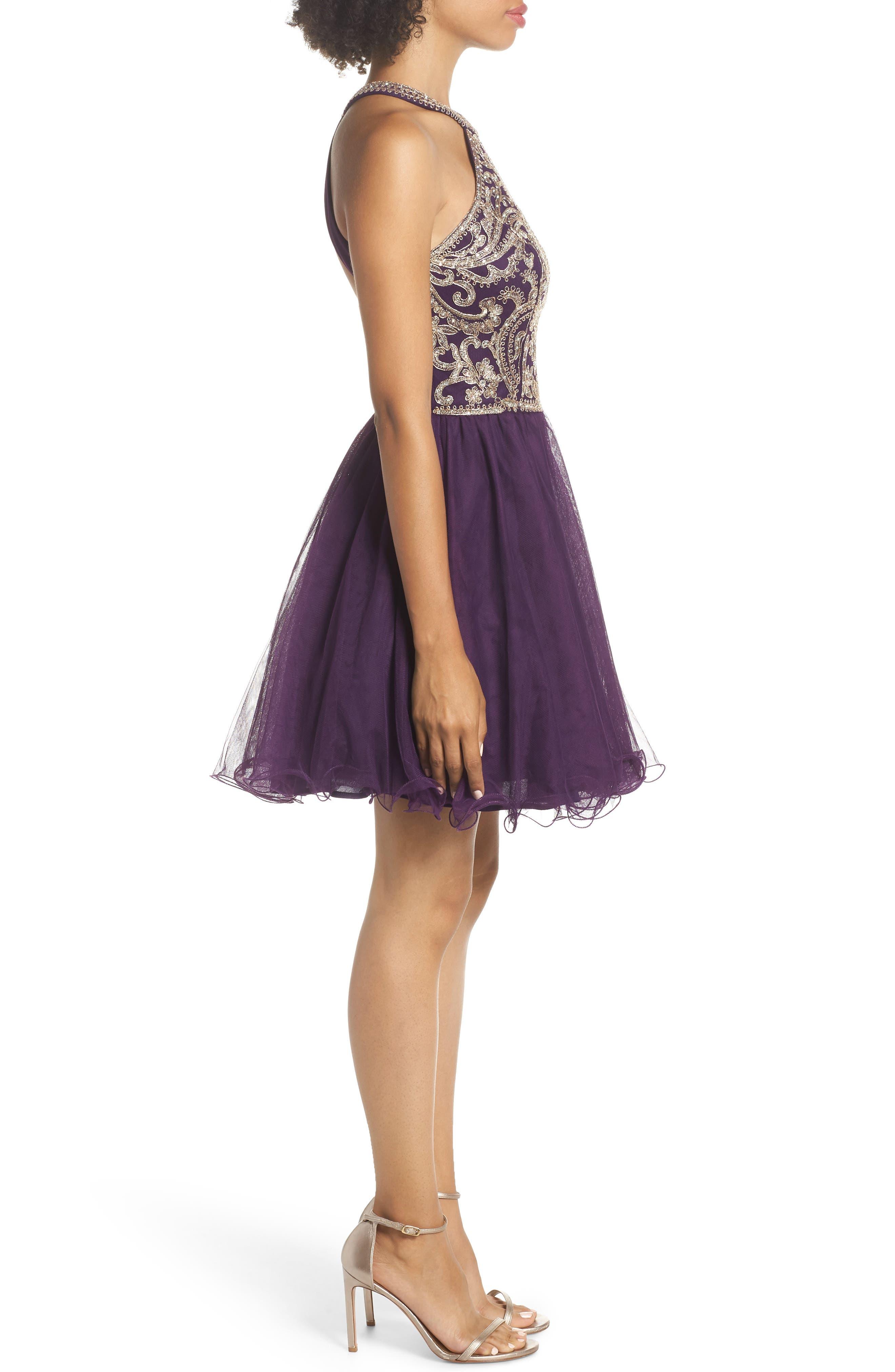 BLONDIE NITES,                             High Neck Appliqué Fit & Flare Dress,                             Alternate thumbnail 4, color,                             522