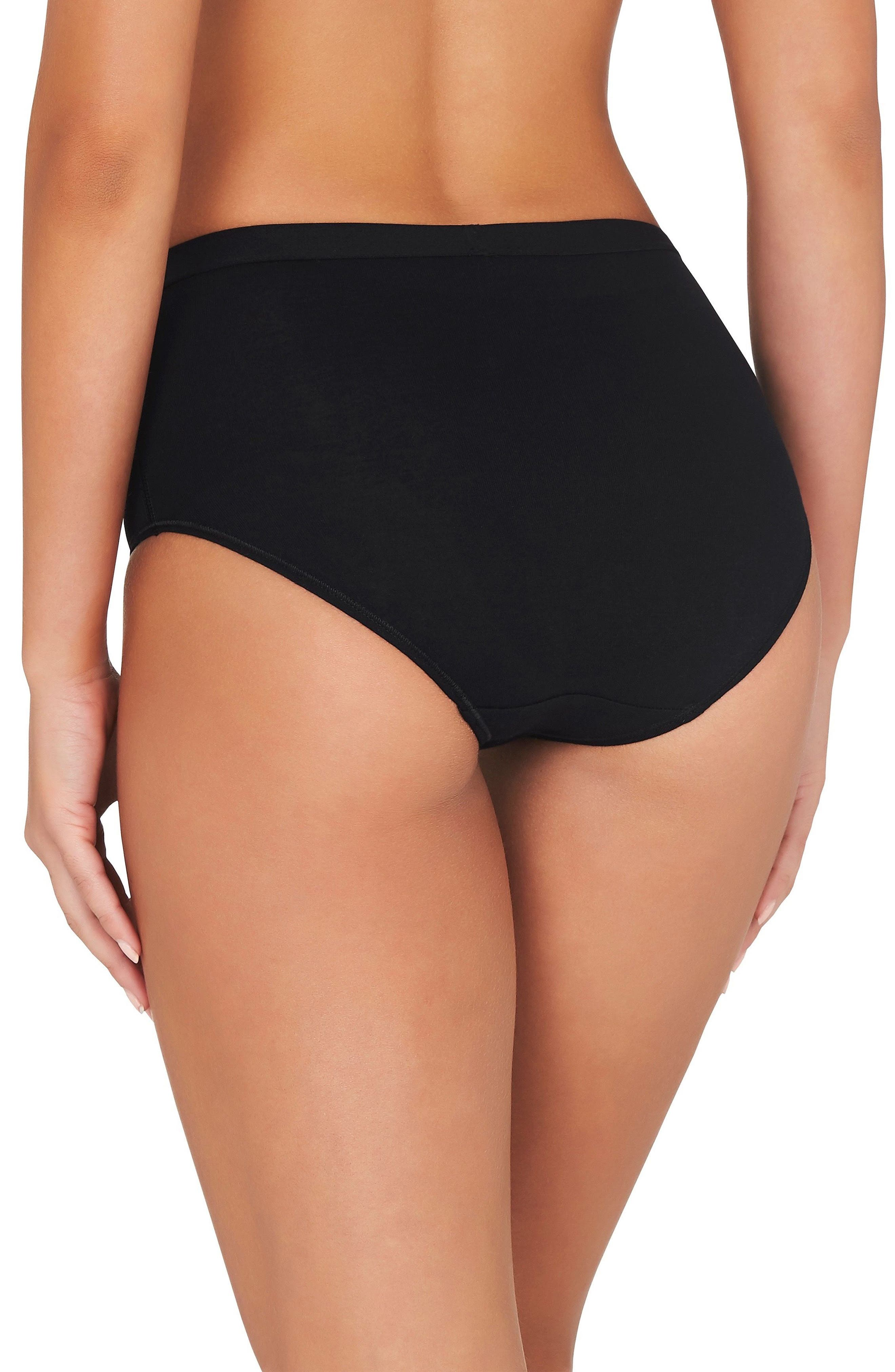 3-Pack Stretch Organic Cotton High Waist Briefs,                             Alternate thumbnail 3, color,                             BLACK
