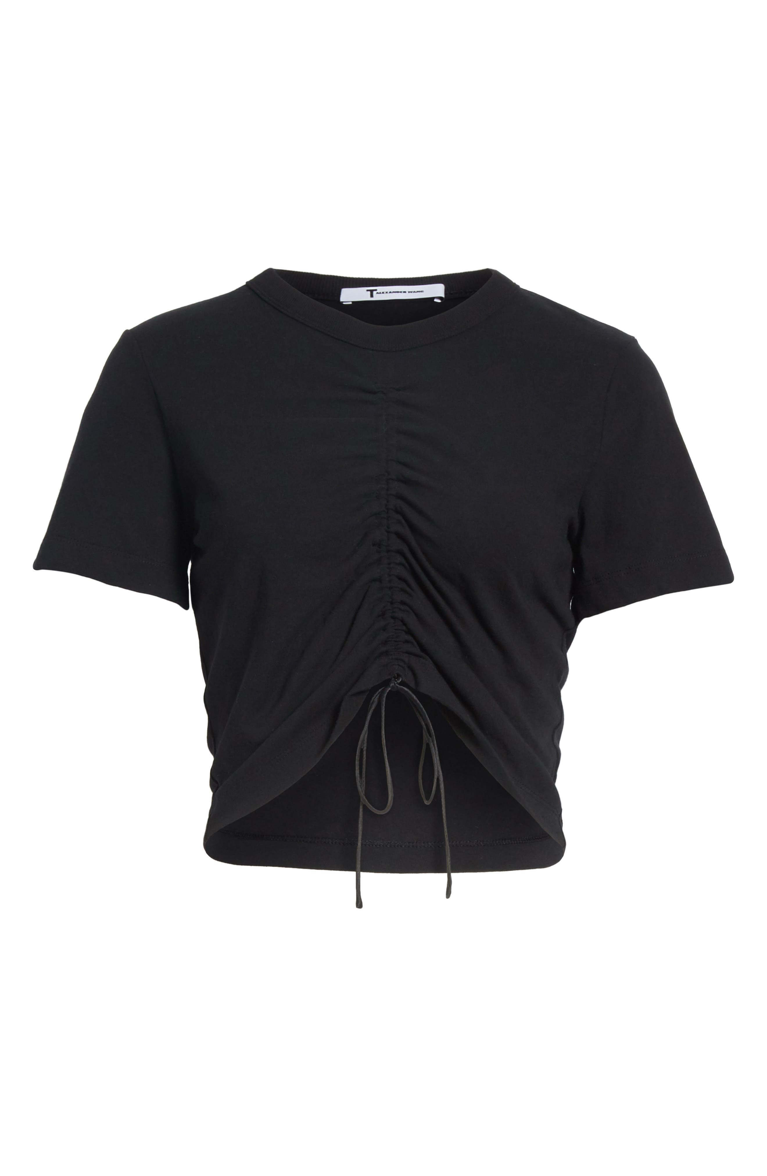 T by Alexander Wang Ruched Cotton Tee,                             Alternate thumbnail 6, color,                             001