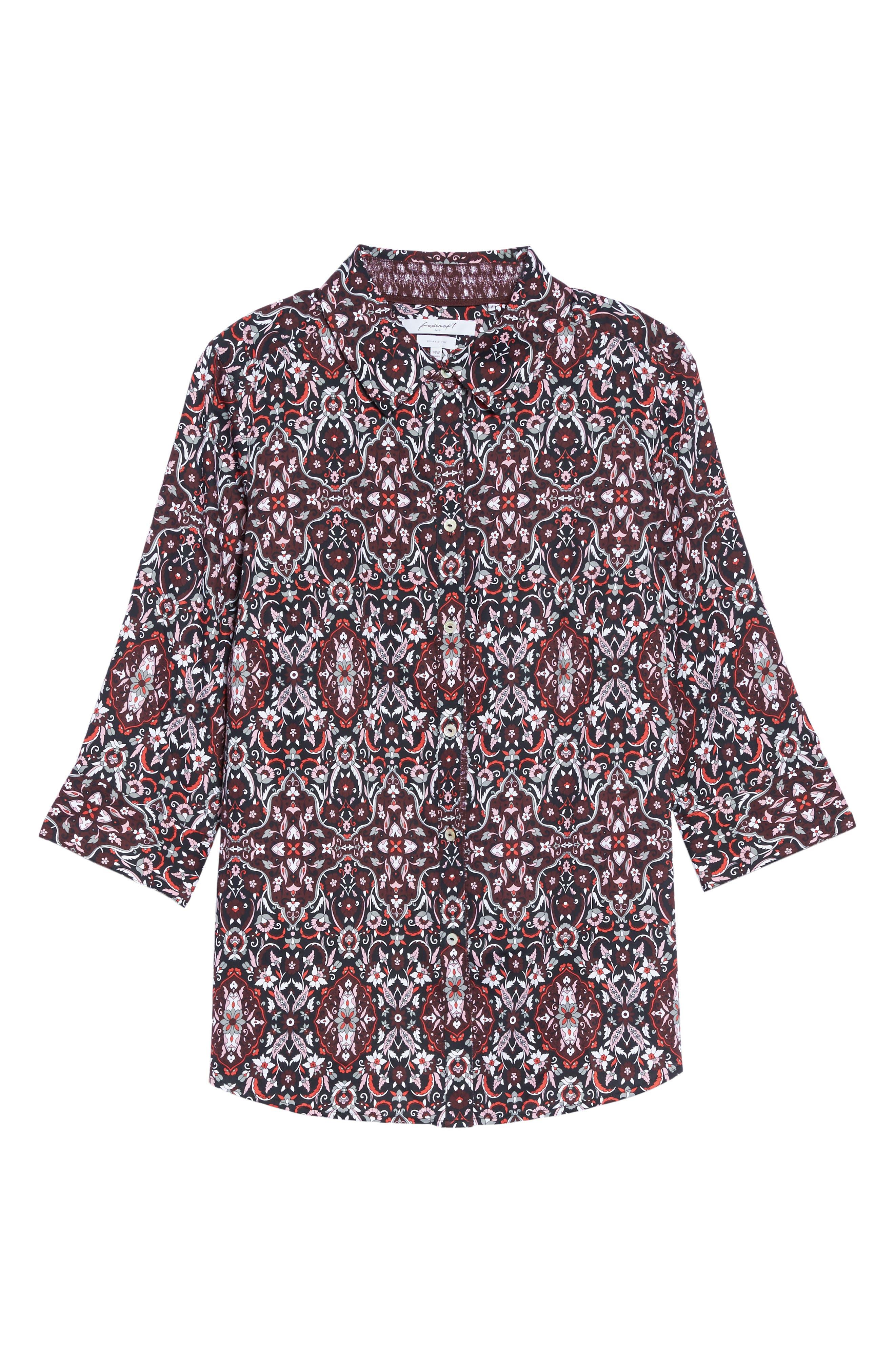 Ava Heirloom Paisley Print Cotton Shirt,                             Alternate thumbnail 6, color,                             602