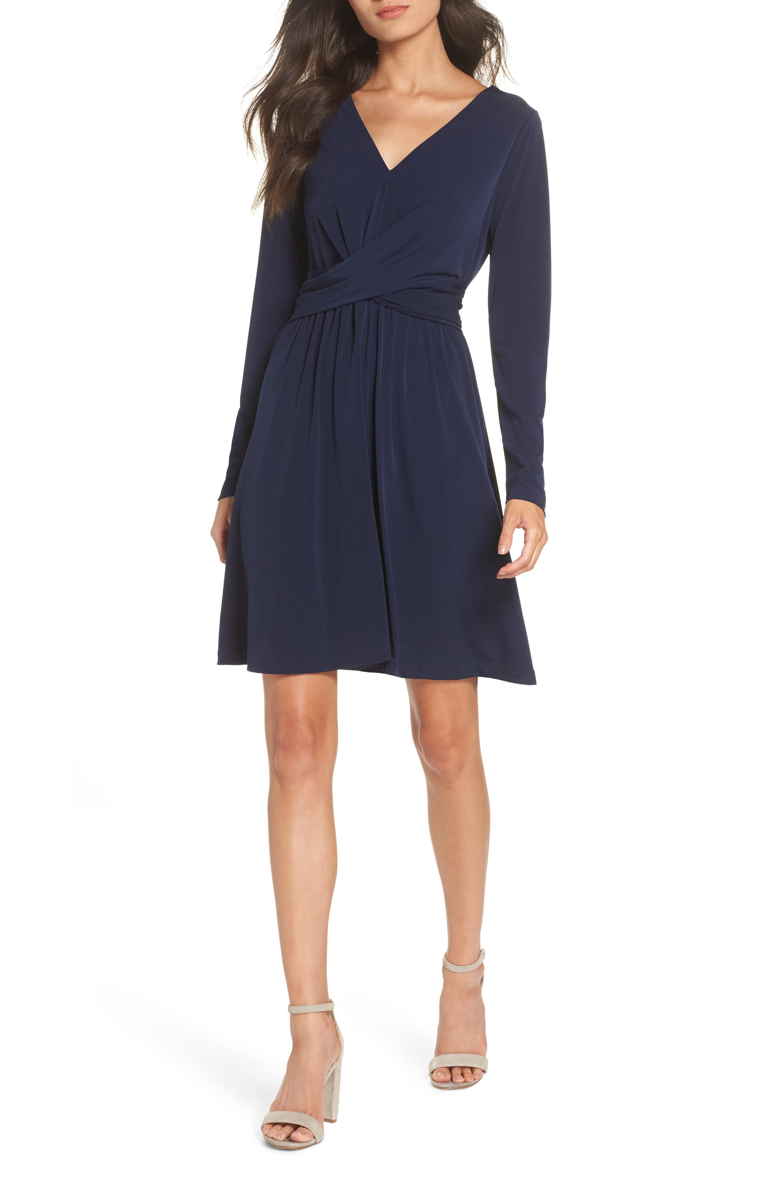 French Connection Alexia Crepe Jersey A-Line Dress, Blue