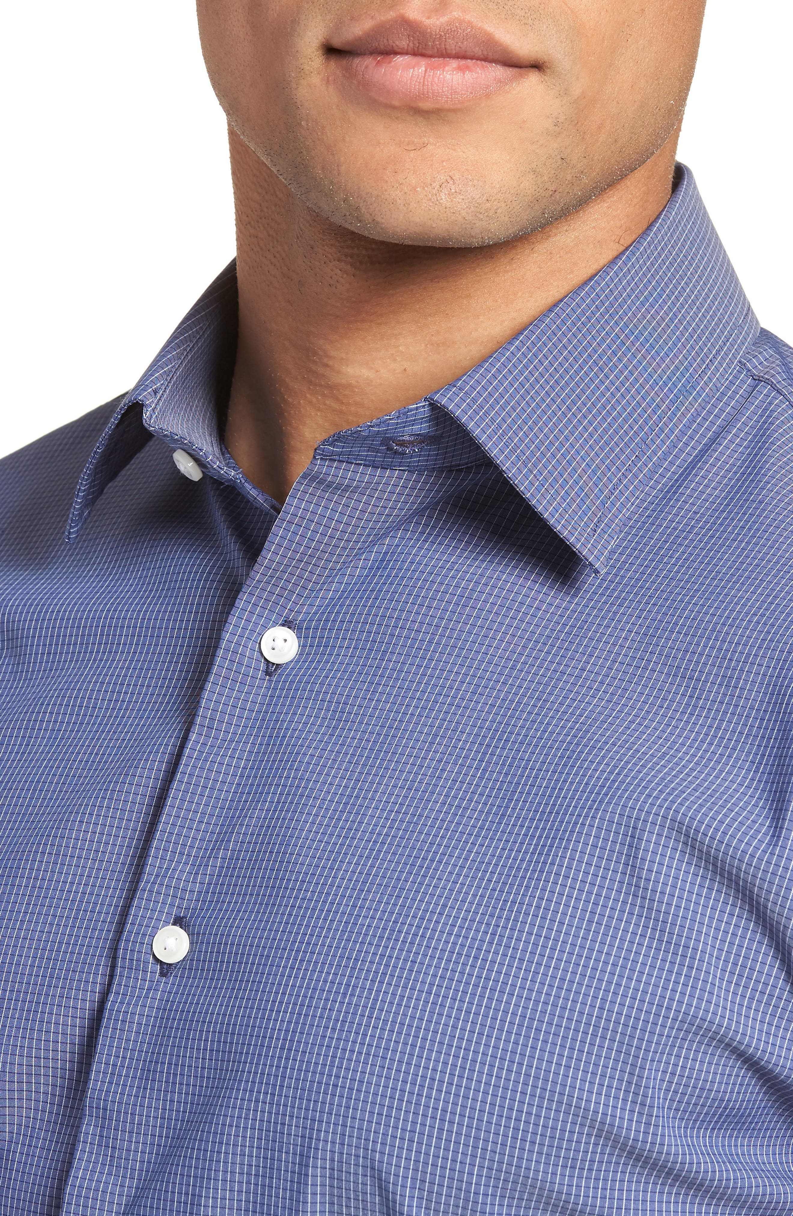 Traditional Fit Stretch Check Dress Shirt,                             Alternate thumbnail 3, color,