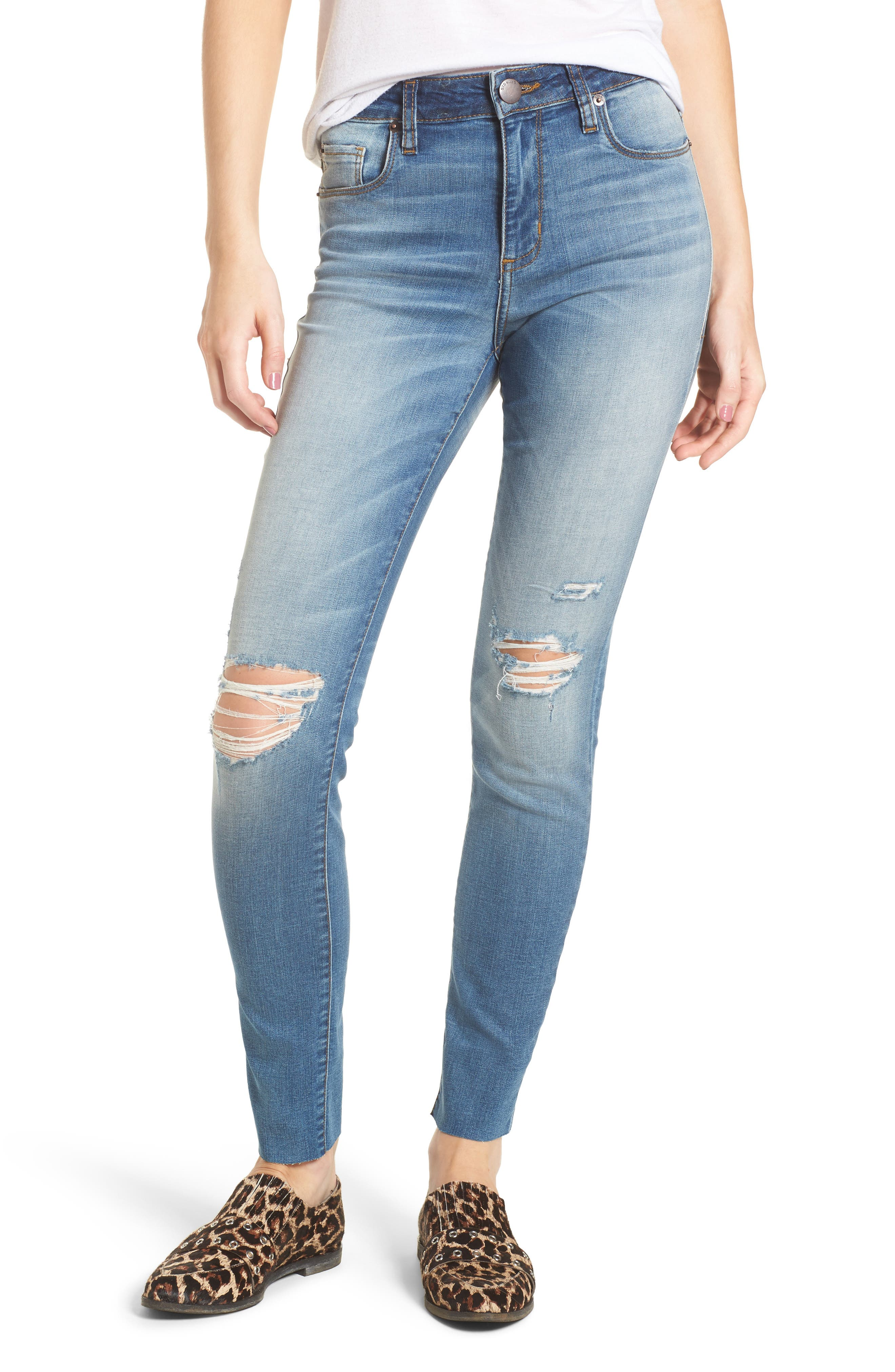 Ellie Ripped High Waist Skinny Jeans,                             Main thumbnail 1, color,                             400