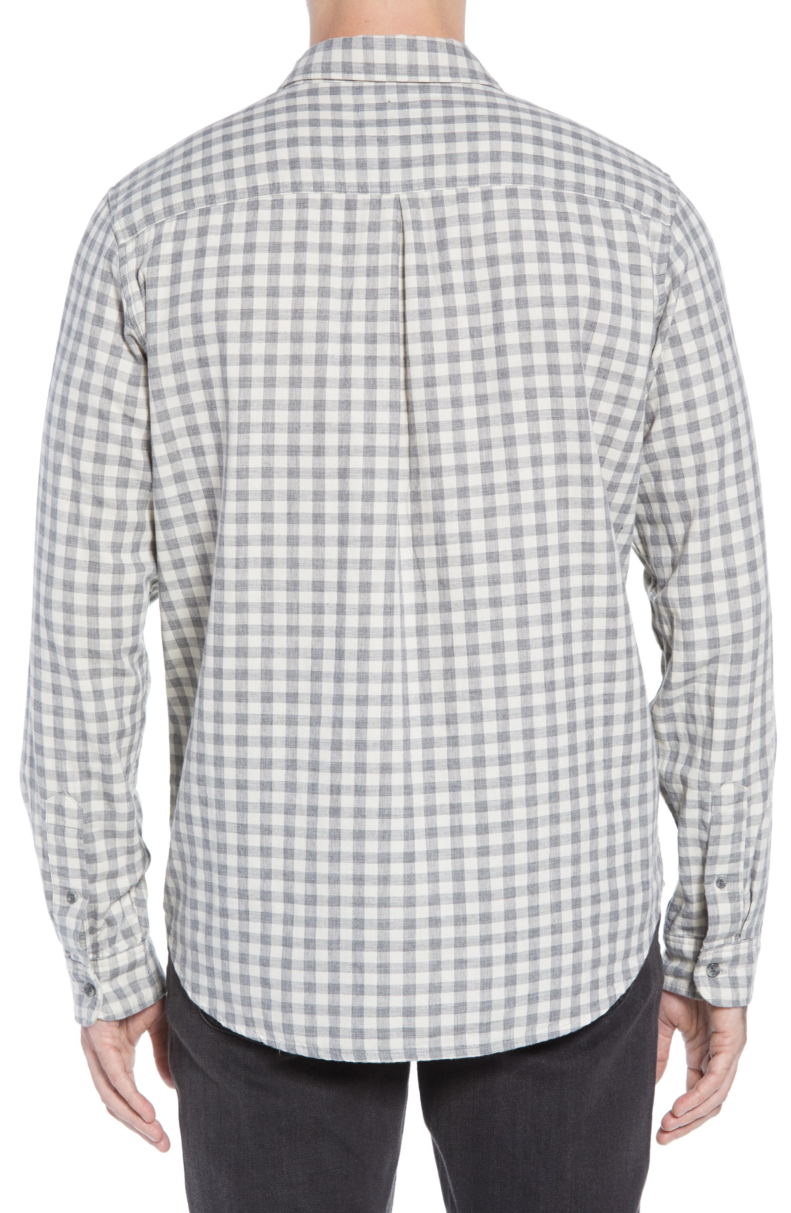 Connor Regular Fit Check Sport Shirt,                             Alternate thumbnail 3, color,                             EGGSHELL GREY