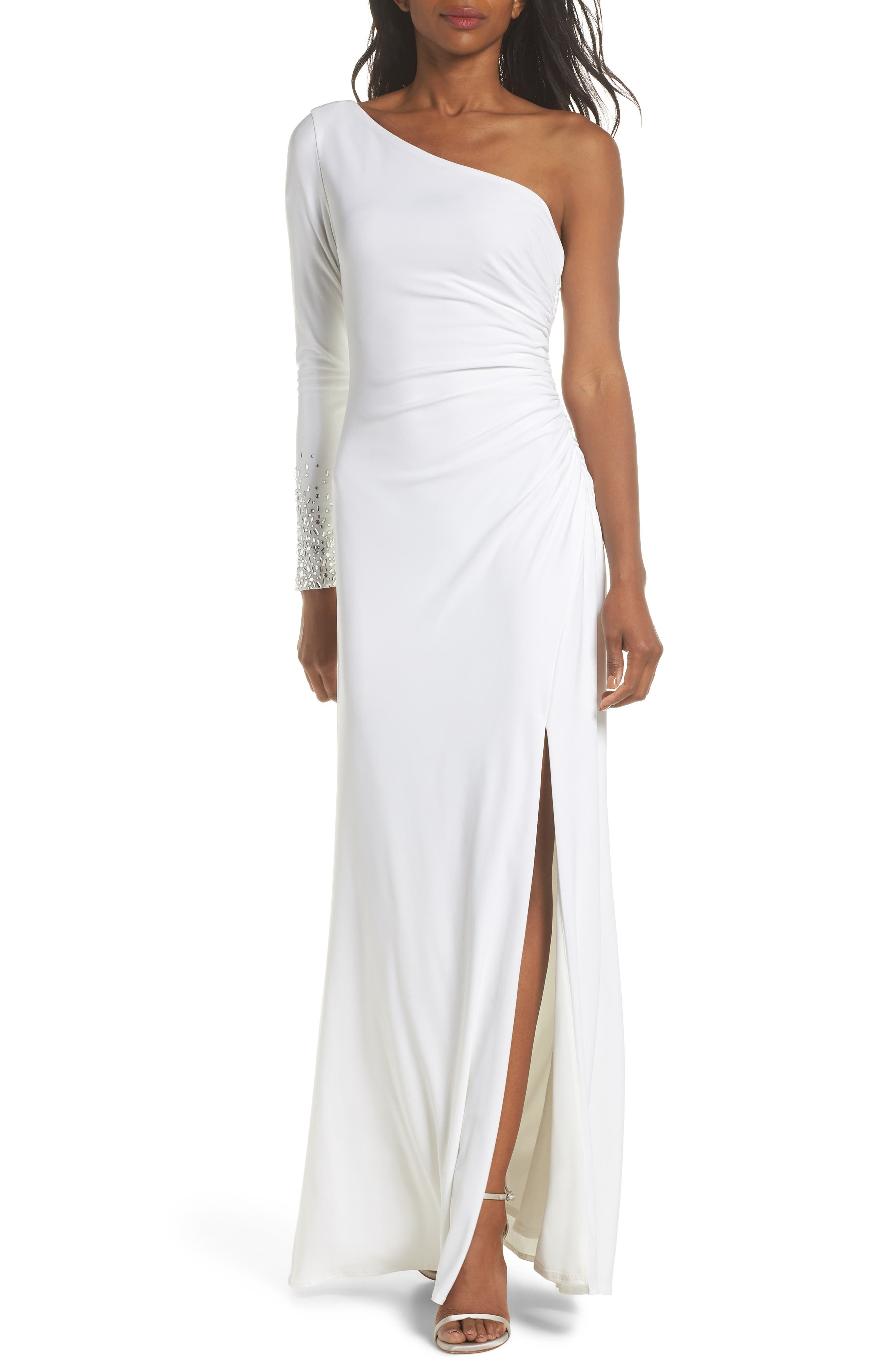 One-Sleeve Side Ruched Evening Dress,                             Main thumbnail 1, color,                             IVORY