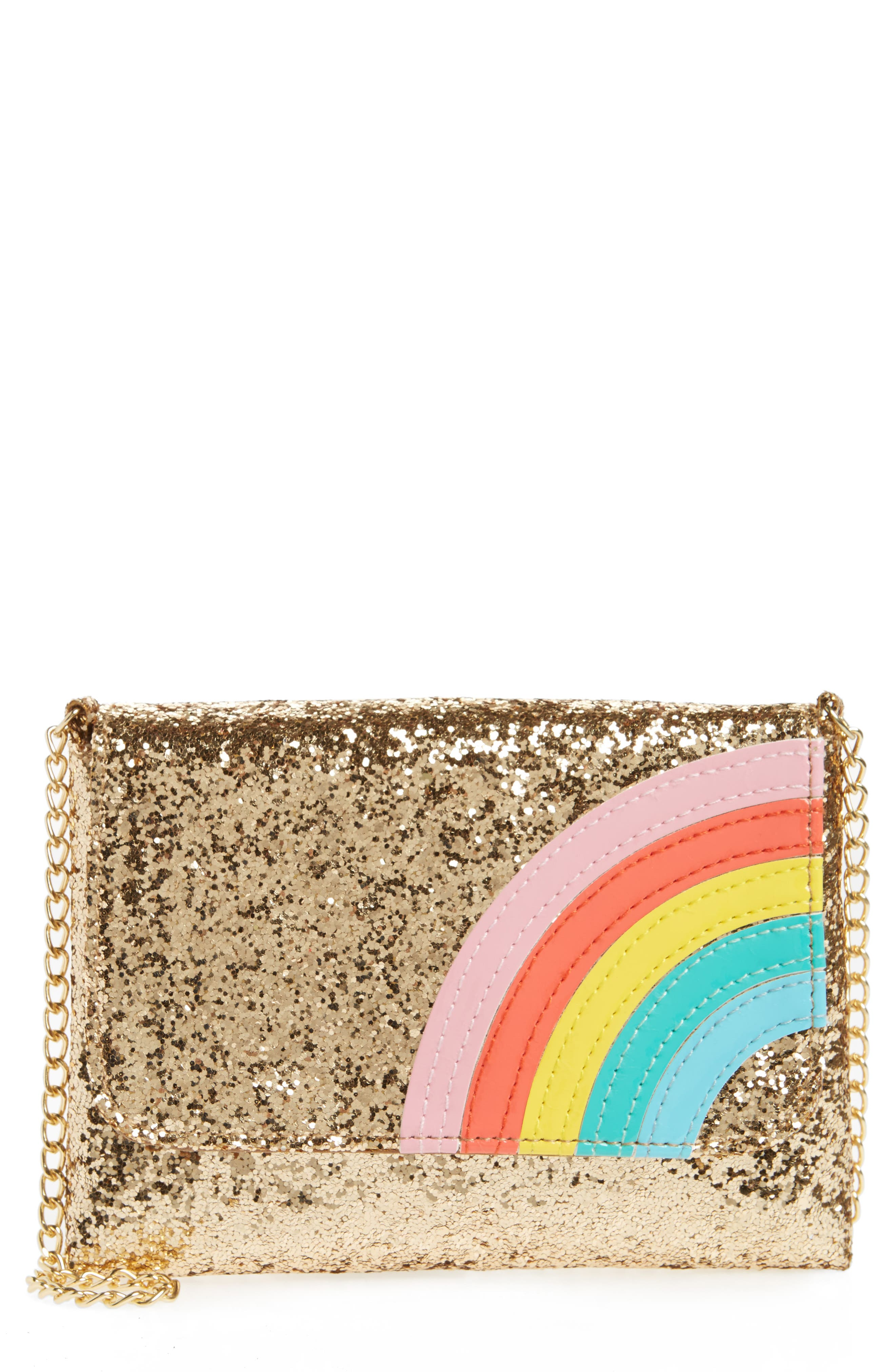 Glitter Rainbow Crossbody Bag,                             Main thumbnail 1, color,                             GOLD COMBO