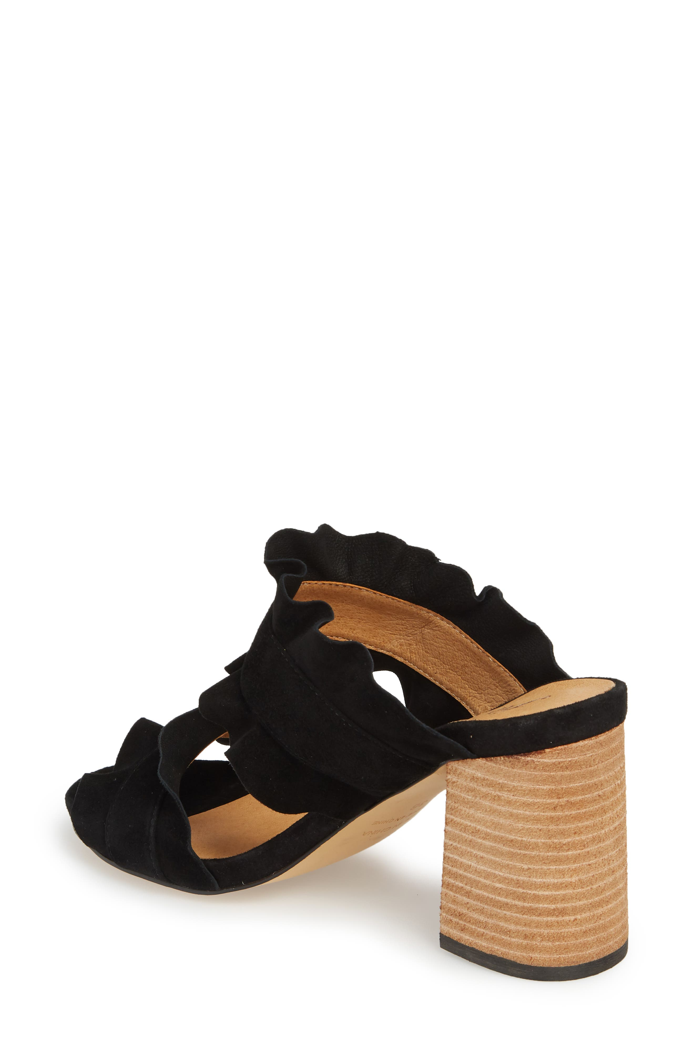 Rosie Ruffle Slide Sandal,                             Alternate thumbnail 2, color,                             BLACK