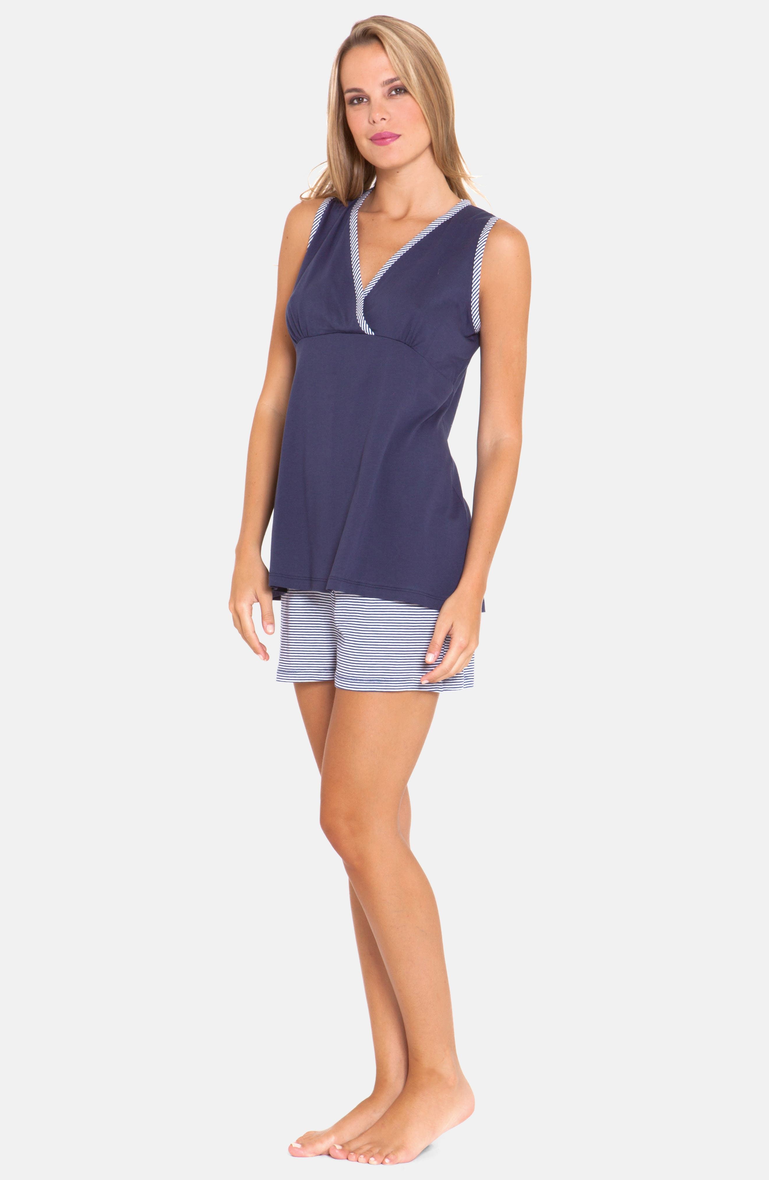 3-Piece Maternity Sleepwear Gift Set,                             Alternate thumbnail 3, color,                             BLUE