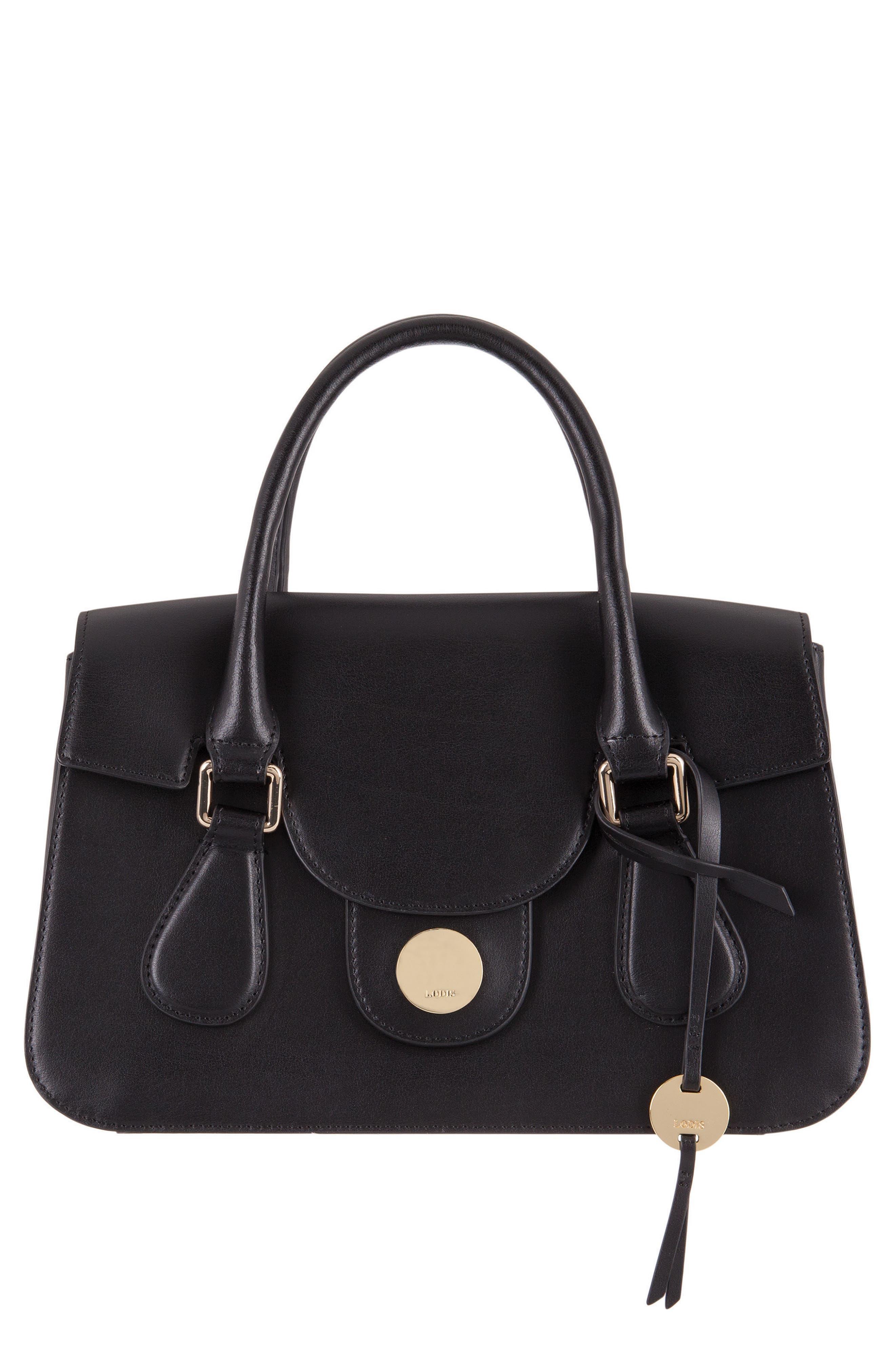 Rodeo Under Lock & Key – Kesha RFID Leather Satchel,                         Main,                         color, BLACK