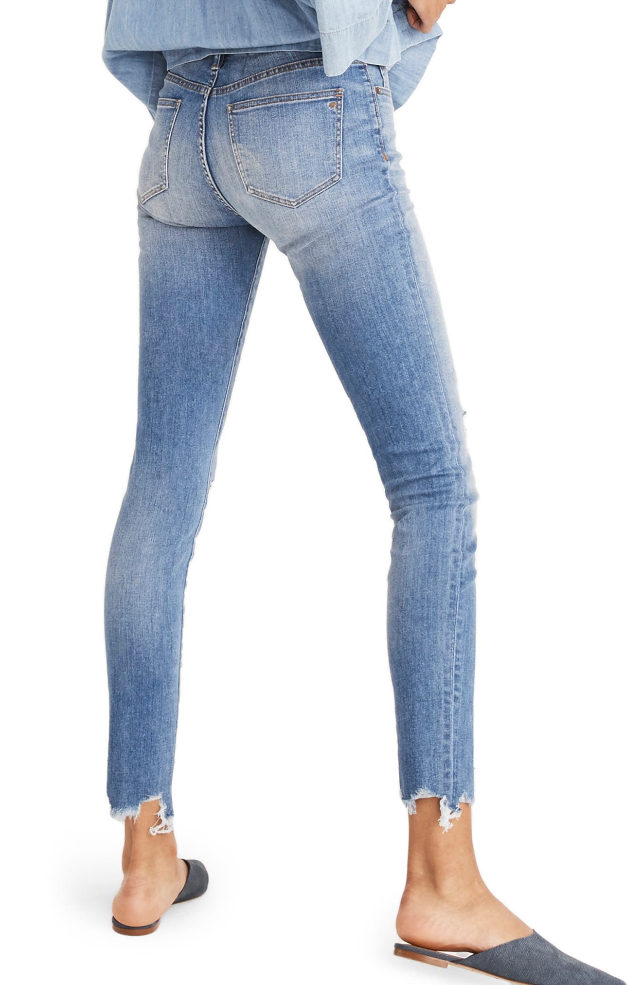 9-Inch Torn Knee Skinny Jeans,                             Alternate thumbnail 2, color,                             400