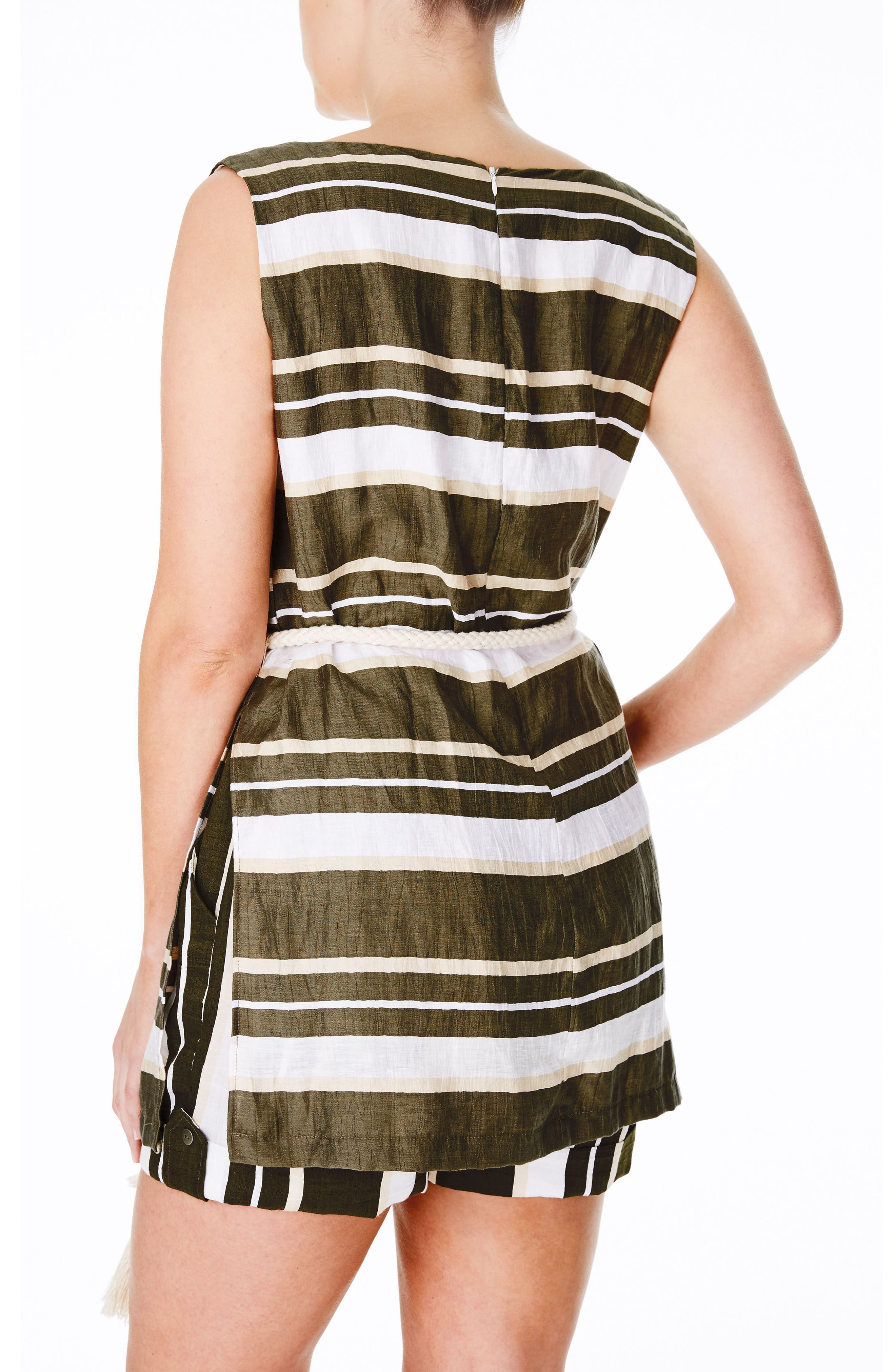 Belted Stripe Cotton Tunic,                             Alternate thumbnail 2, color,                             300
