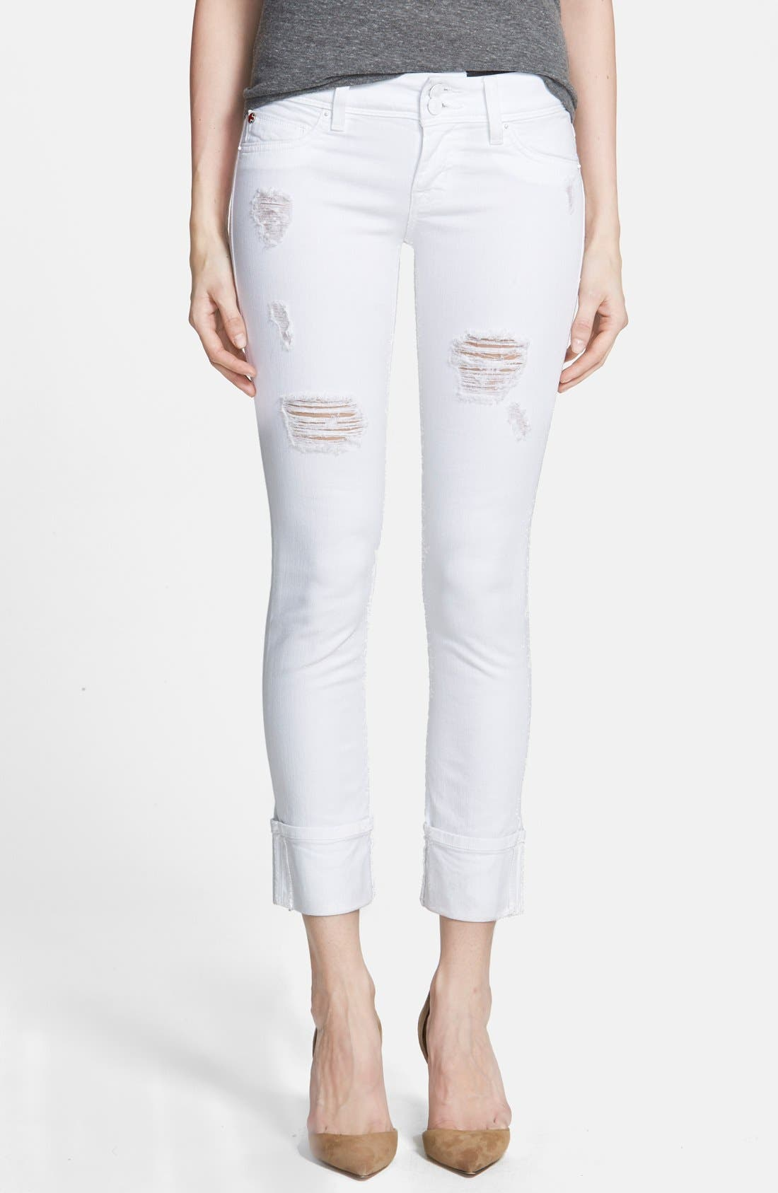 HUDSON JEANS,                             'Ginny Crop' Stretch Skinny Jeans,                             Main thumbnail 1, color,                             100