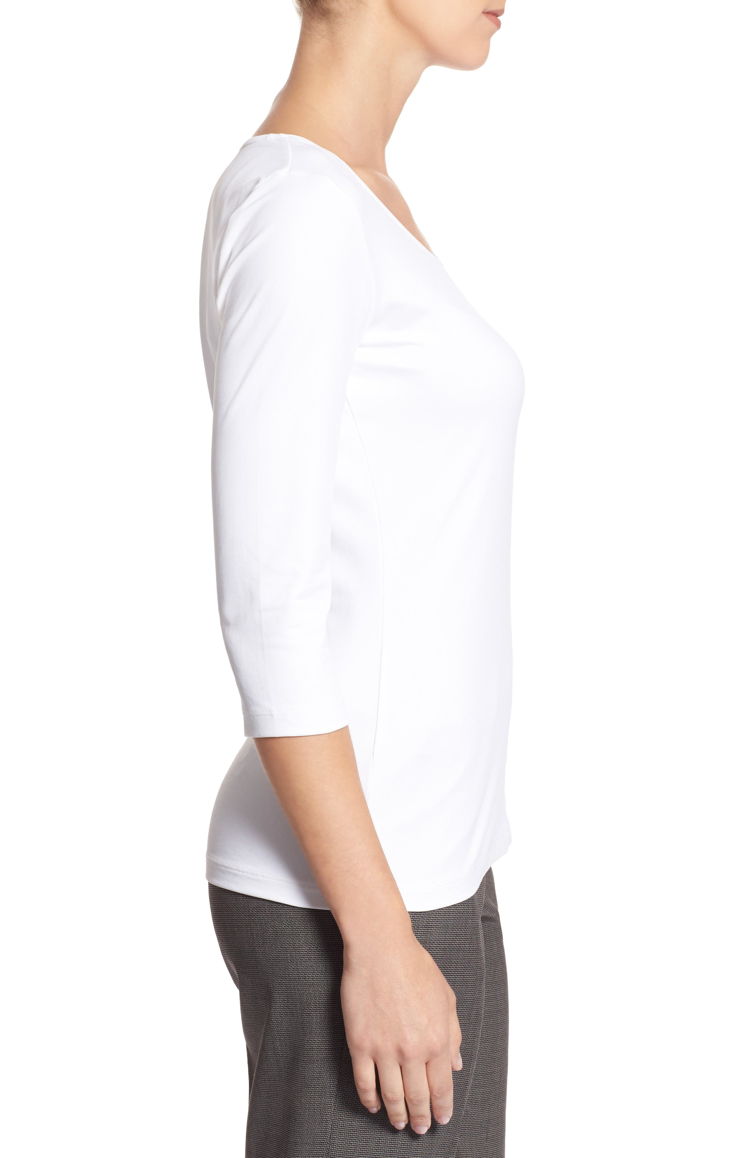 BOSS,                             Scoop Neck Stretch Jersey Top,                             Alternate thumbnail 2, color,                             VANILLA