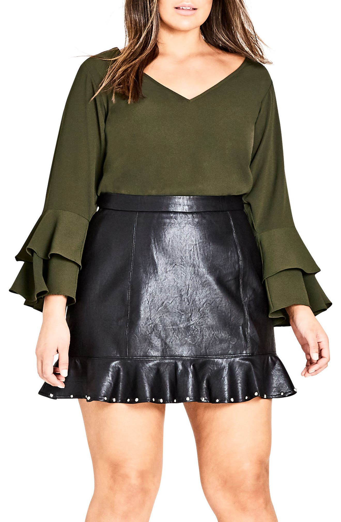 Double Frill Sleeve Top,                             Main thumbnail 1, color,                             309