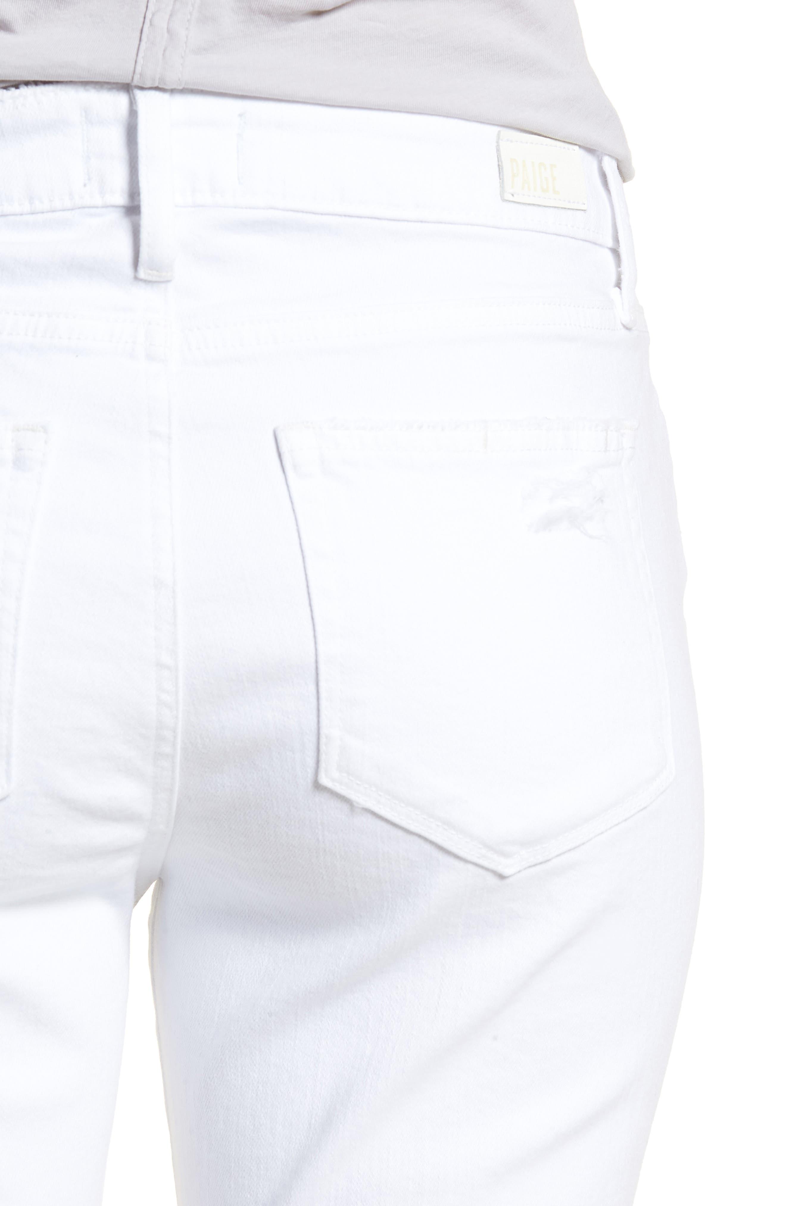 Brigitte Ripped Crop Boyfriend Jeans,                             Alternate thumbnail 4, color,                             100