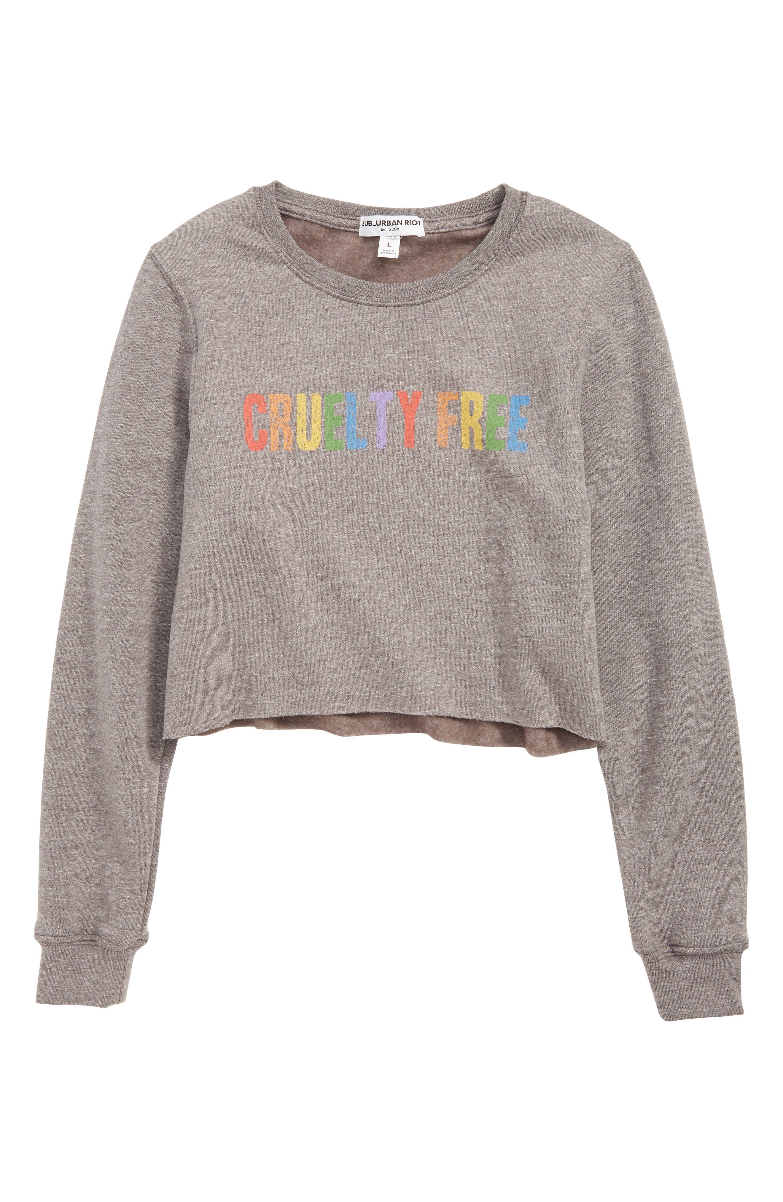 SUB_URBAN RIOT,                             Free Graphic Crop Sweatshirt,                             Main thumbnail 1, color,                             HEATHER GRAY