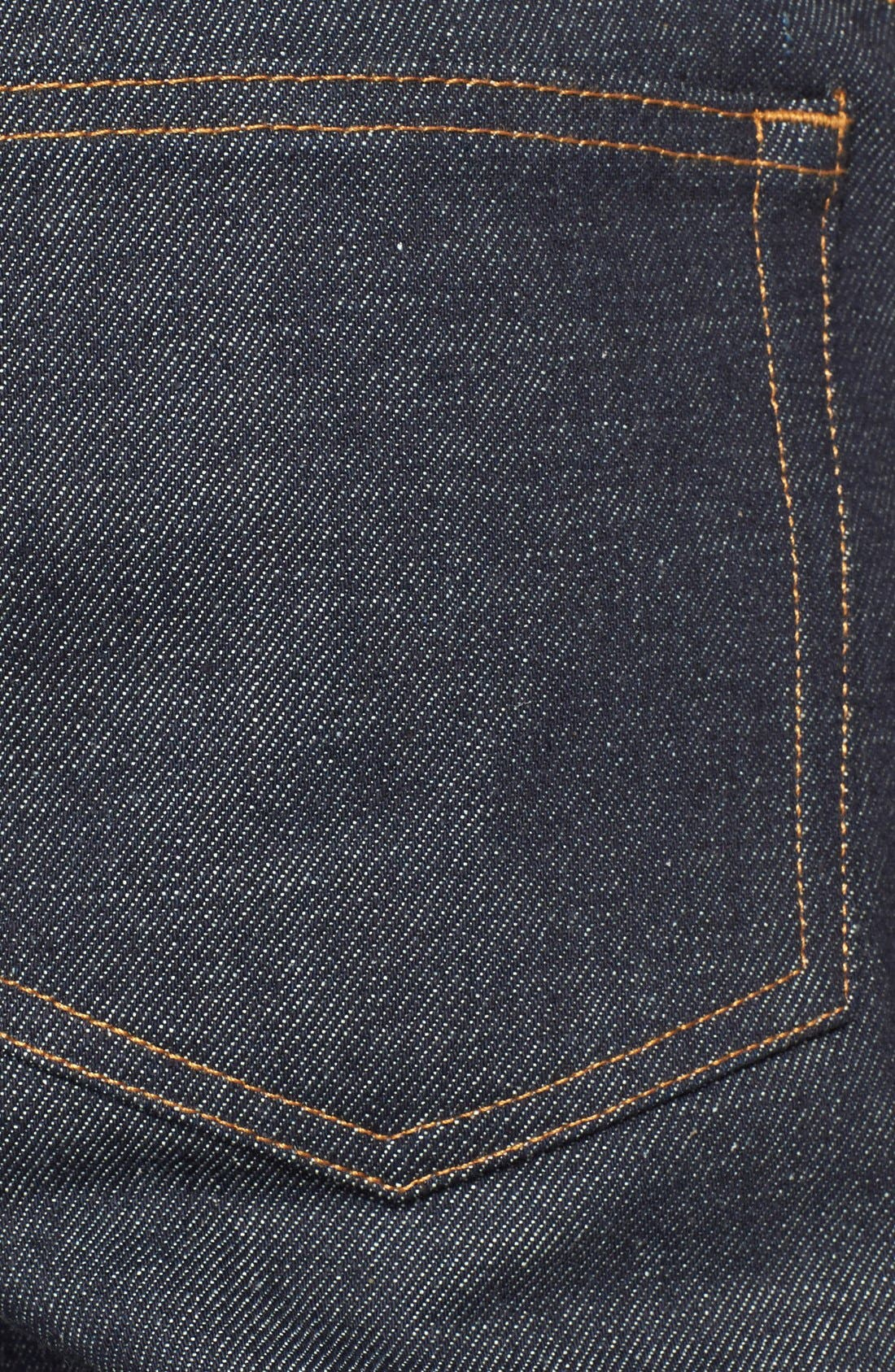 Petit New Standard Skinny Fit Selvedge Jeans,                             Alternate thumbnail 3, color,                             INDIGO WASH