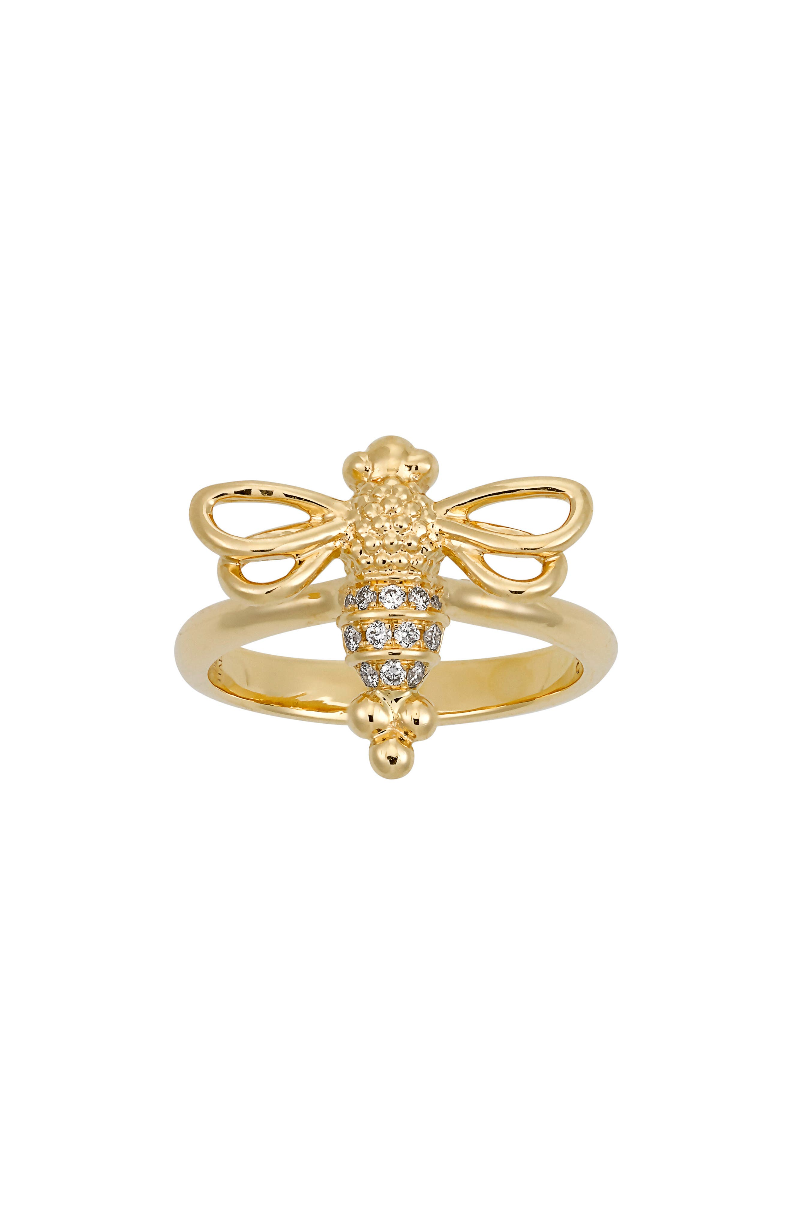 Temple St. Clair Diamond Pavé Bee Ring,                             Main thumbnail 1, color,                             YELLOW GOLD