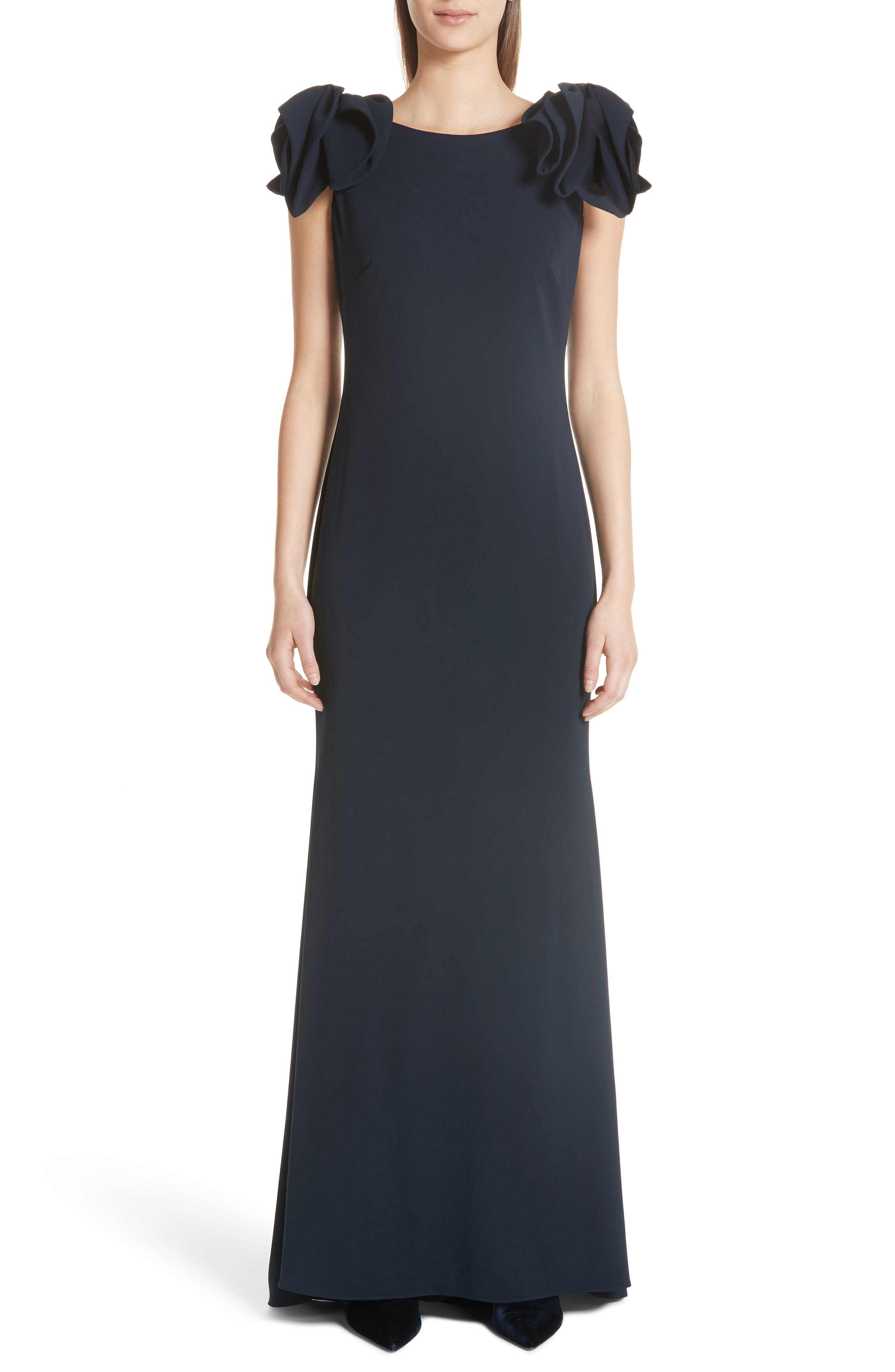 Badgley Mischka Collection Bow Cap Sleeve Gown