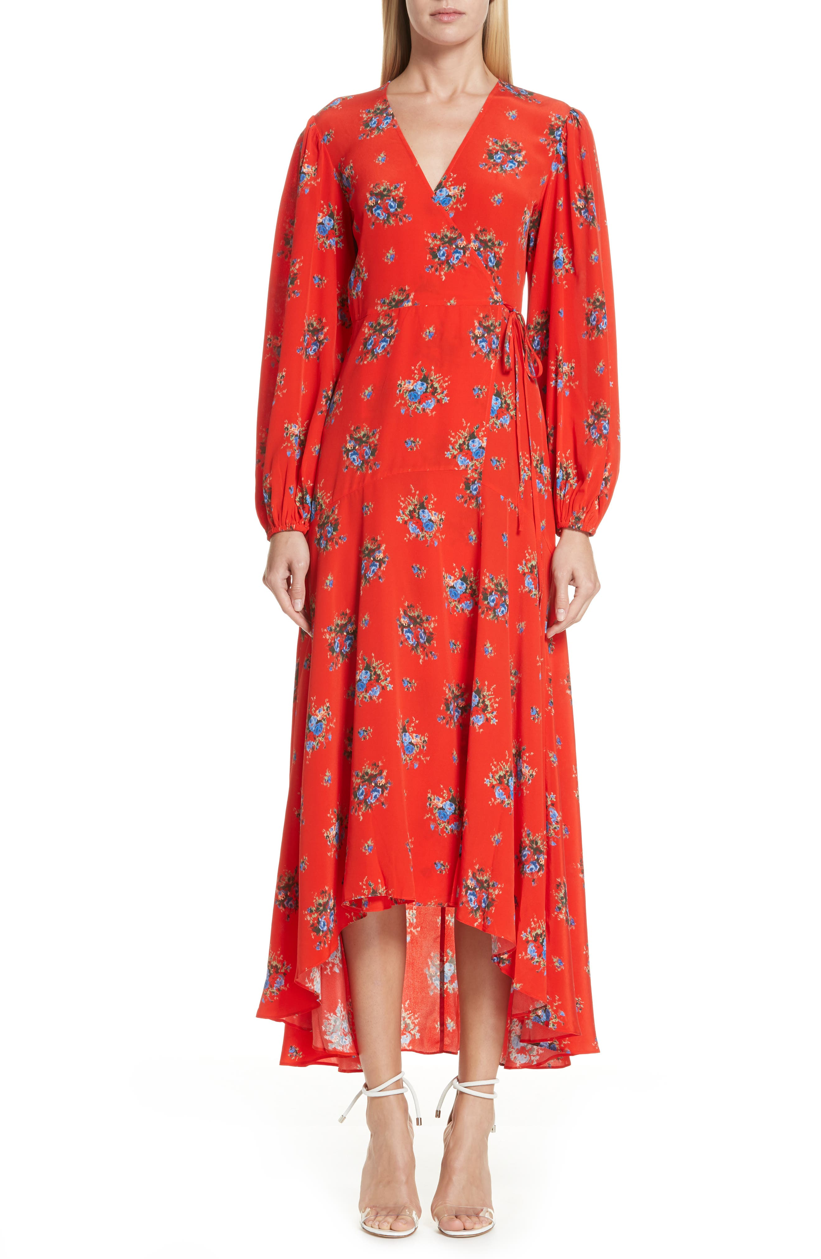 Floral Silk Wrap Dress,                             Main thumbnail 1, color,                             FIERY RED