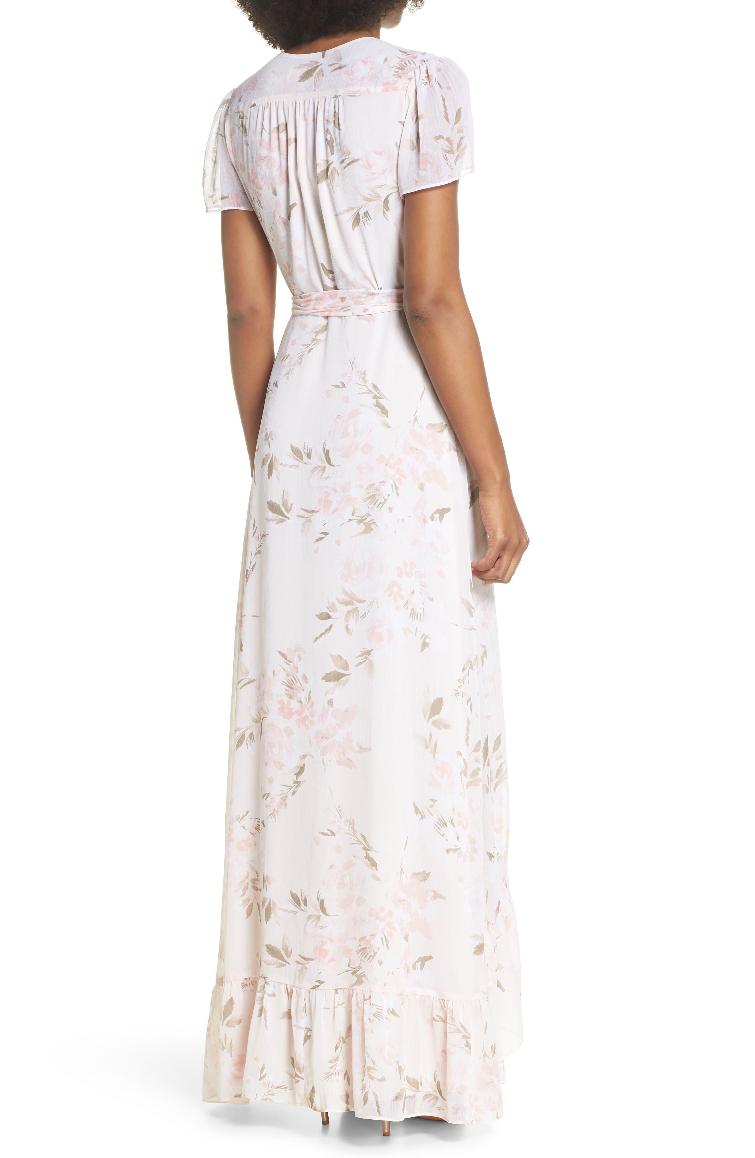 The Natasha Floral Wrap Maxi Dress,                             Alternate thumbnail 2, color,                             BLUSH BOUQUET PRINT
