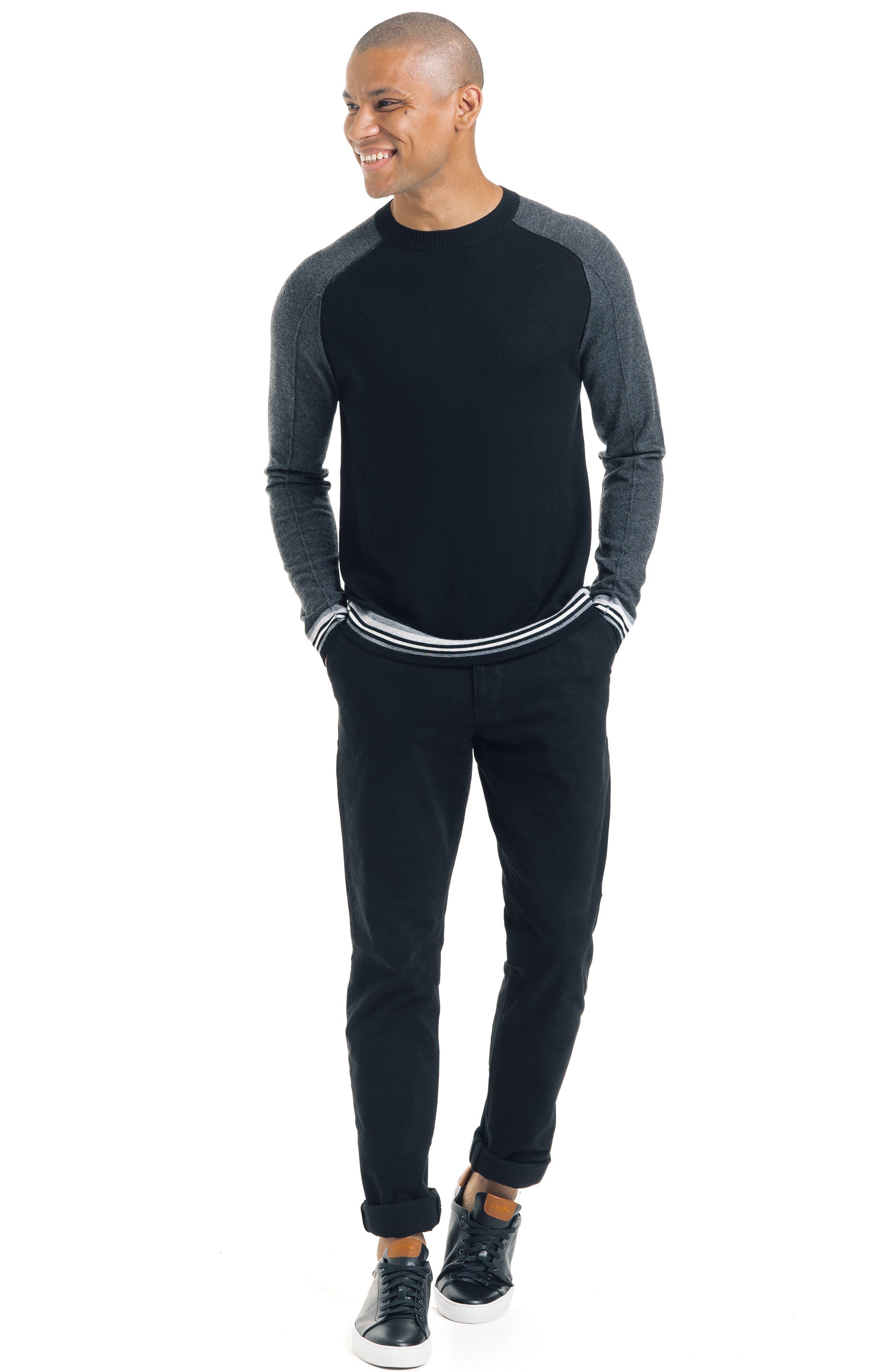 Mix Modern Slim Fit Wool Sweater,                             Alternate thumbnail 5, color,                             BLACK