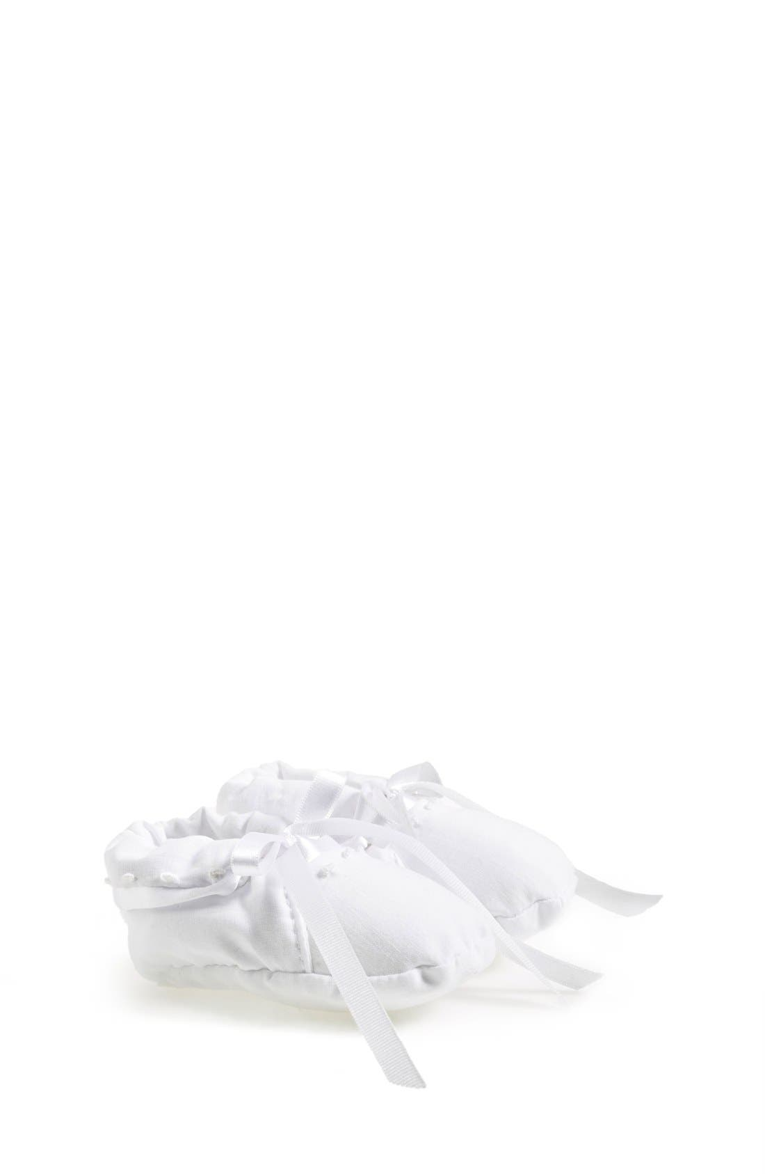 Embroidered Cotton Booties,                         Main,                         color, WHITE