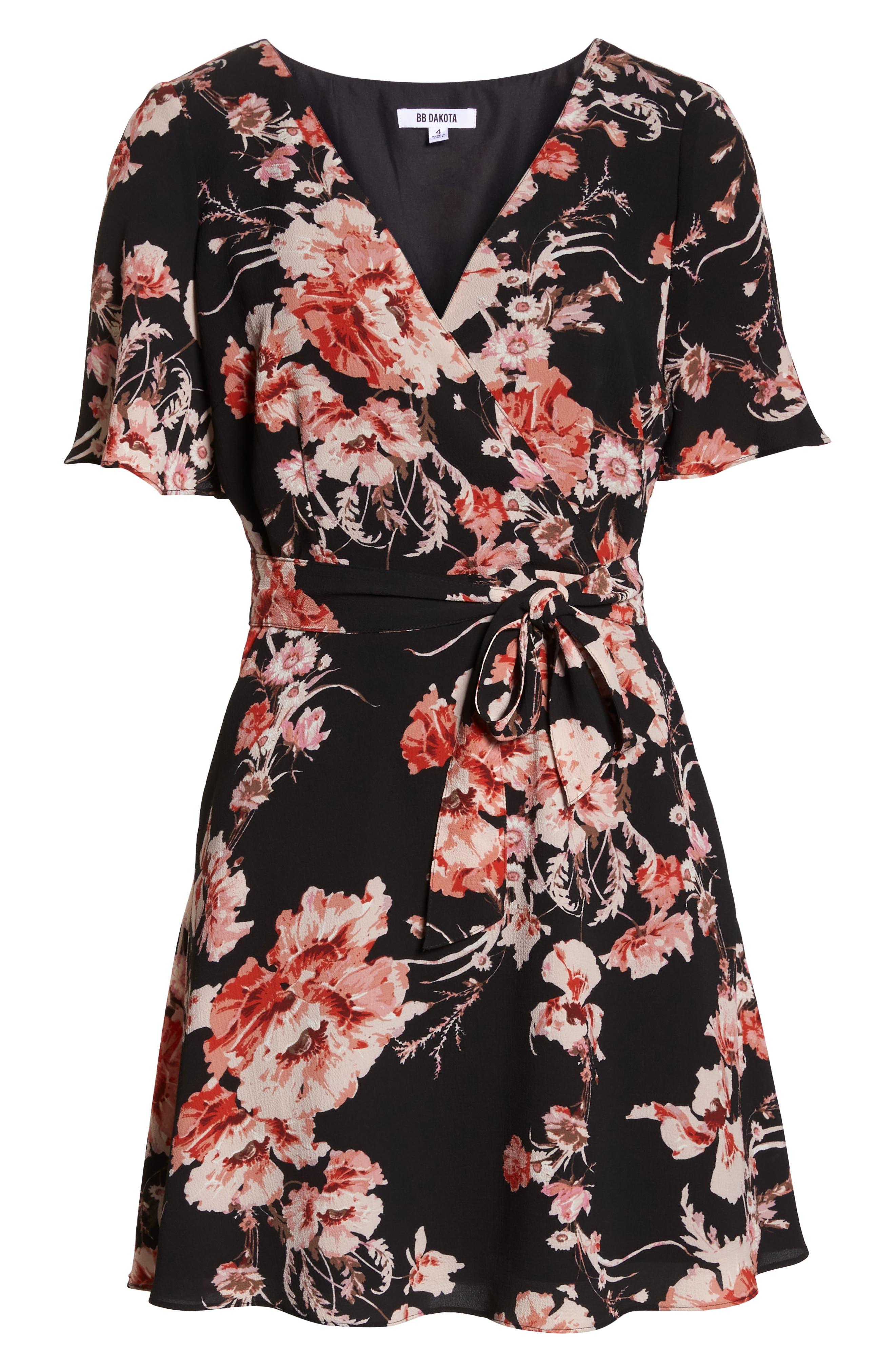 BB DAKOTA,                             Wait Until Dark Floral Dress,                             Alternate thumbnail 7, color,                             001