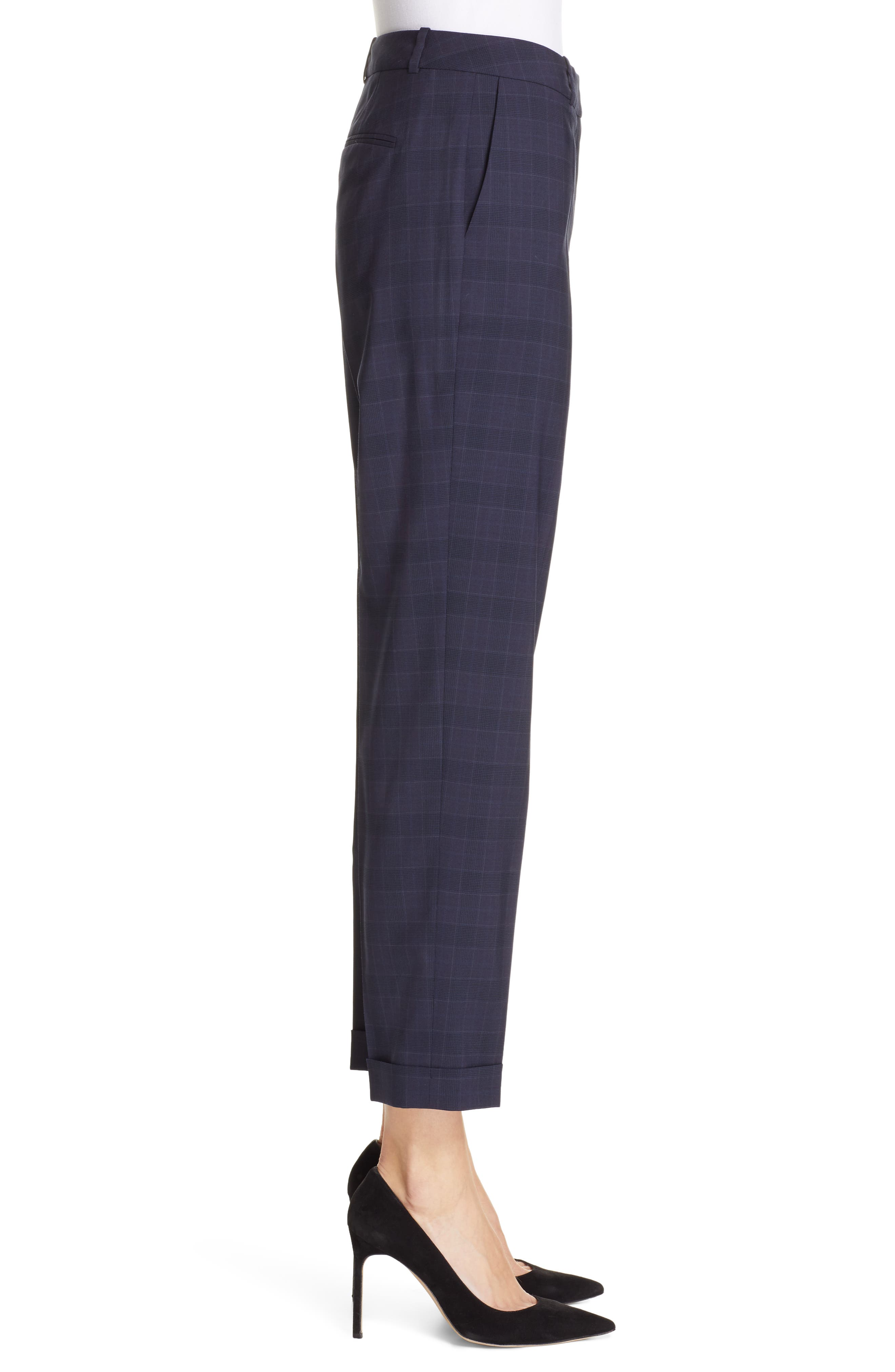 Tocanes Modern Check Wool Ankle Trousers,                             Alternate thumbnail 3, color,                             DARK NAVY FANTASY