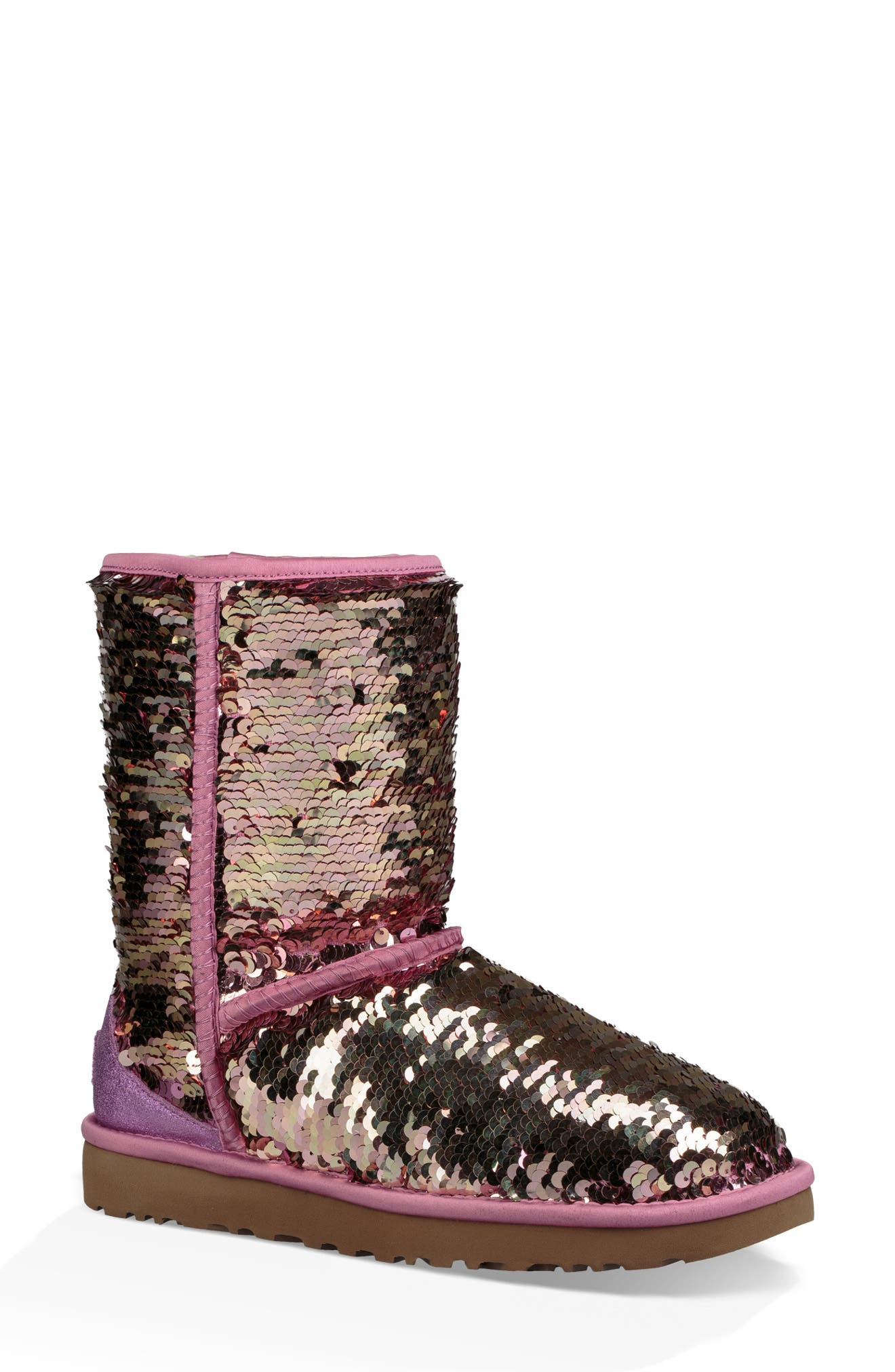 Classic Short Sequin Boot,                             Main thumbnail 1, color,                             PINK