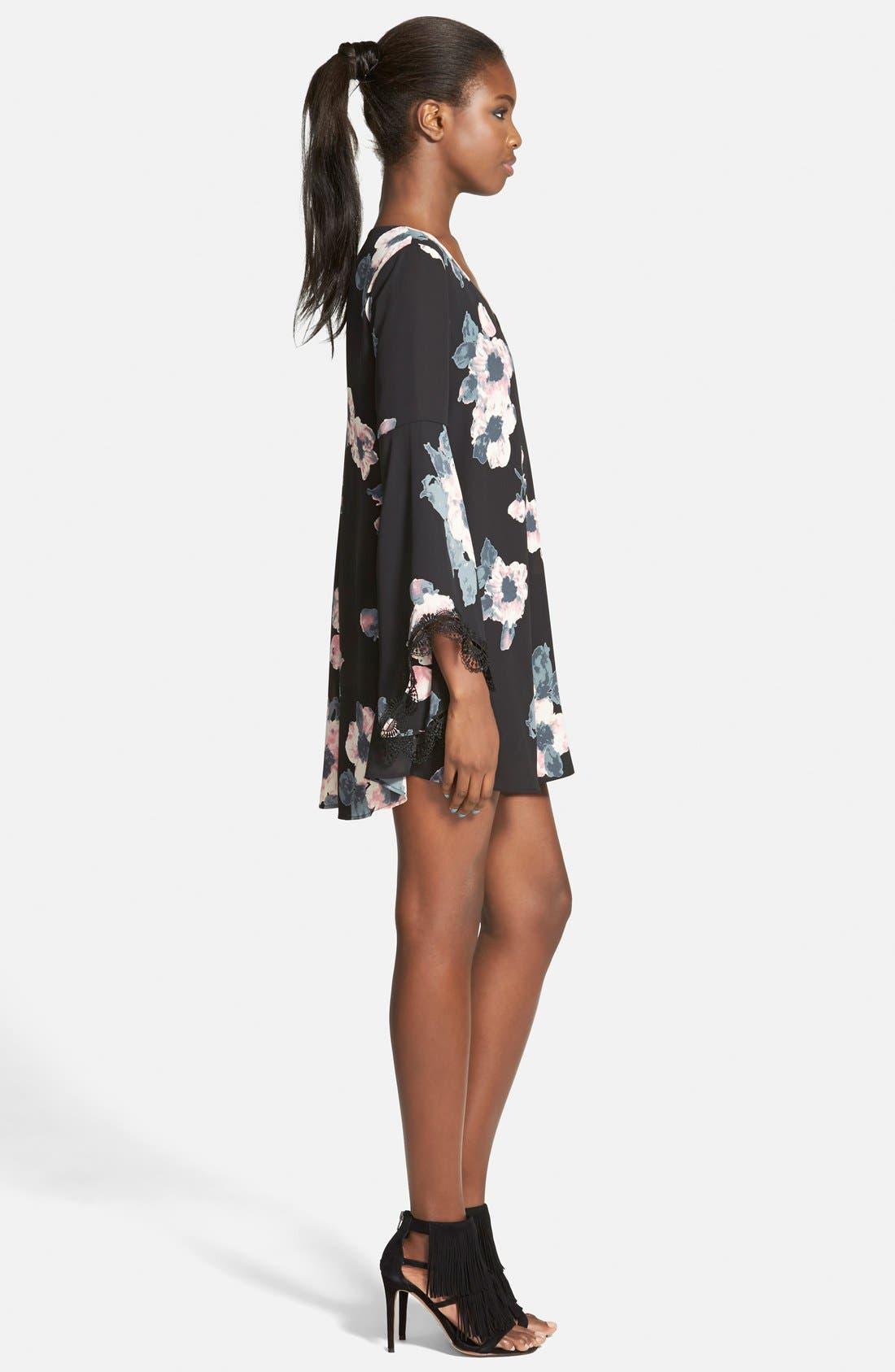 ASTR Lace Trim Shift Dress,                             Alternate thumbnail 4, color,                             001