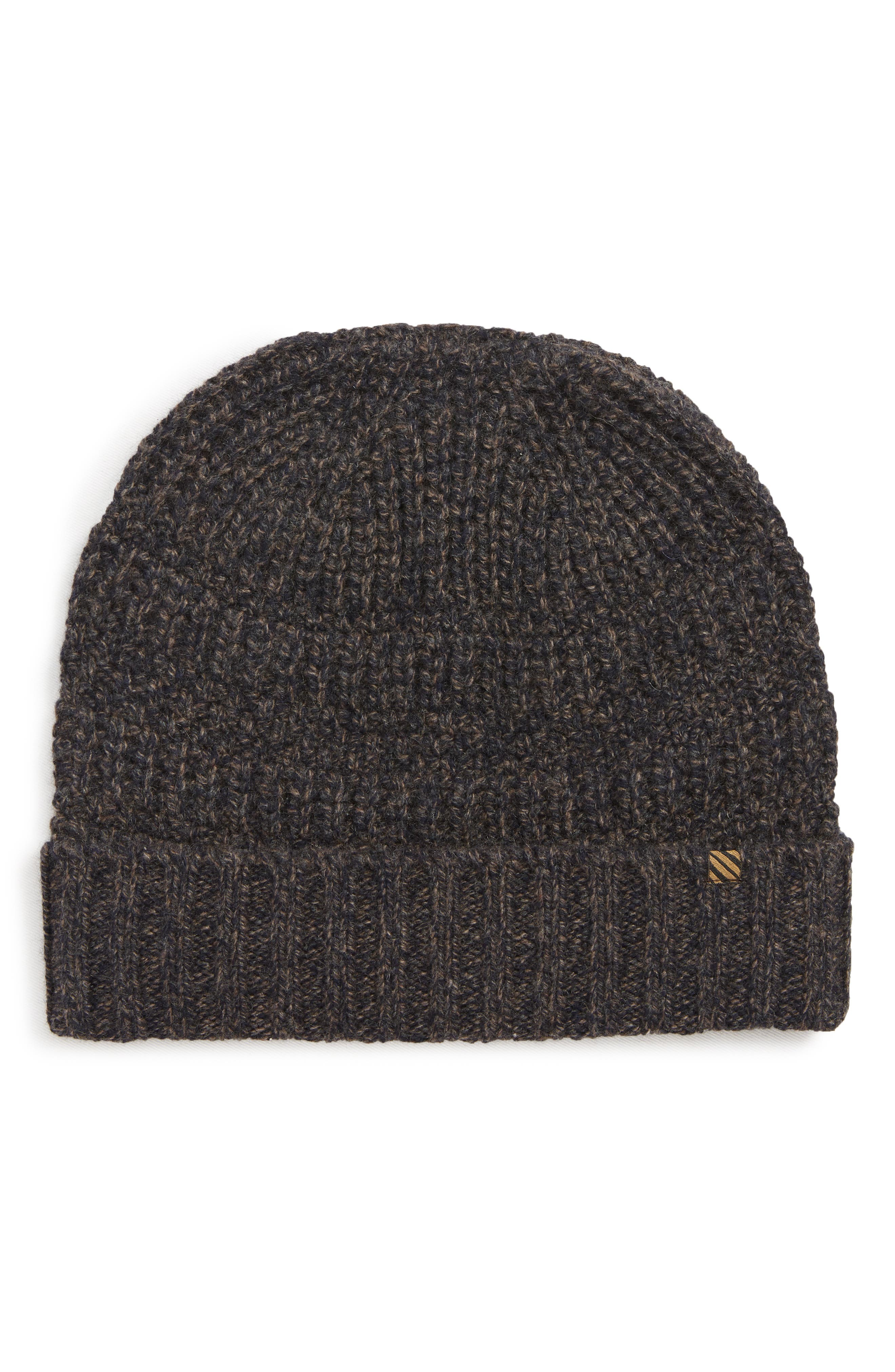 Ribbon Shaker Cashmere Beanie - Blue in Navy