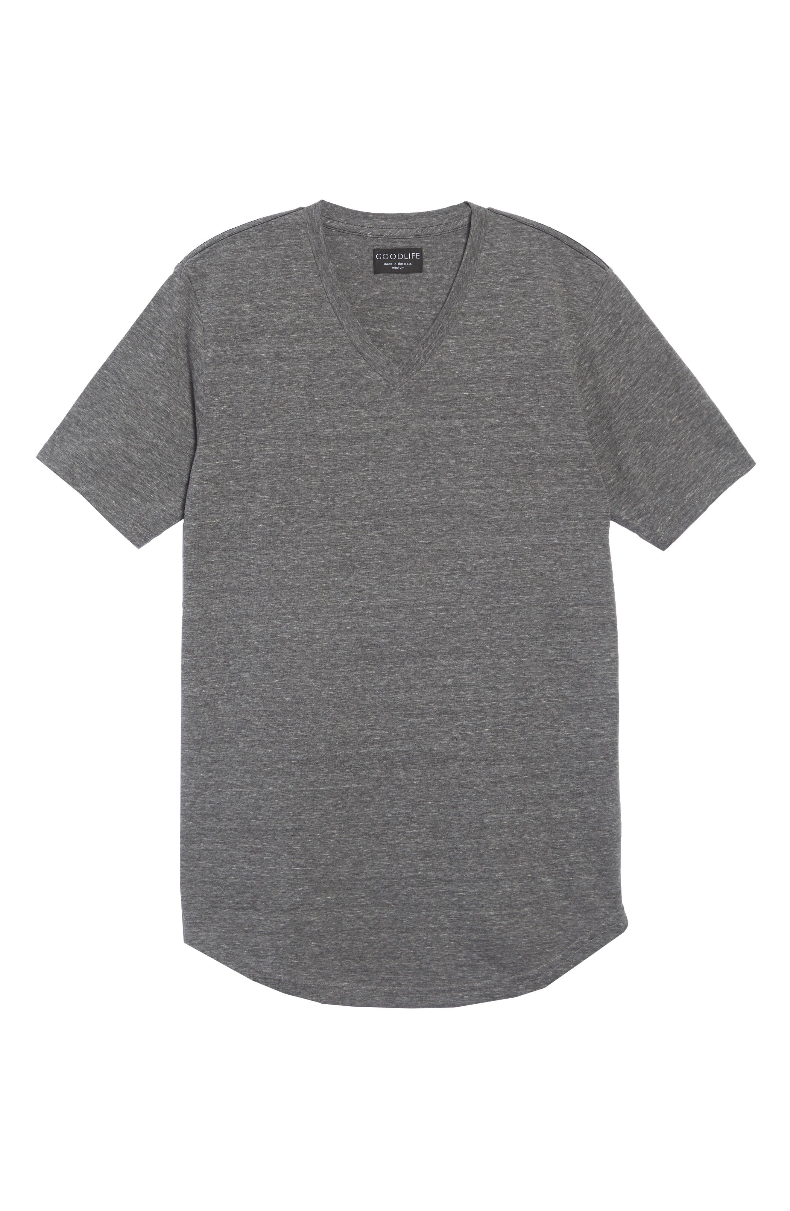 Scallop Triblend V-Neck T-Shirt,                             Alternate thumbnail 2, color,                             HEATHER GREY
