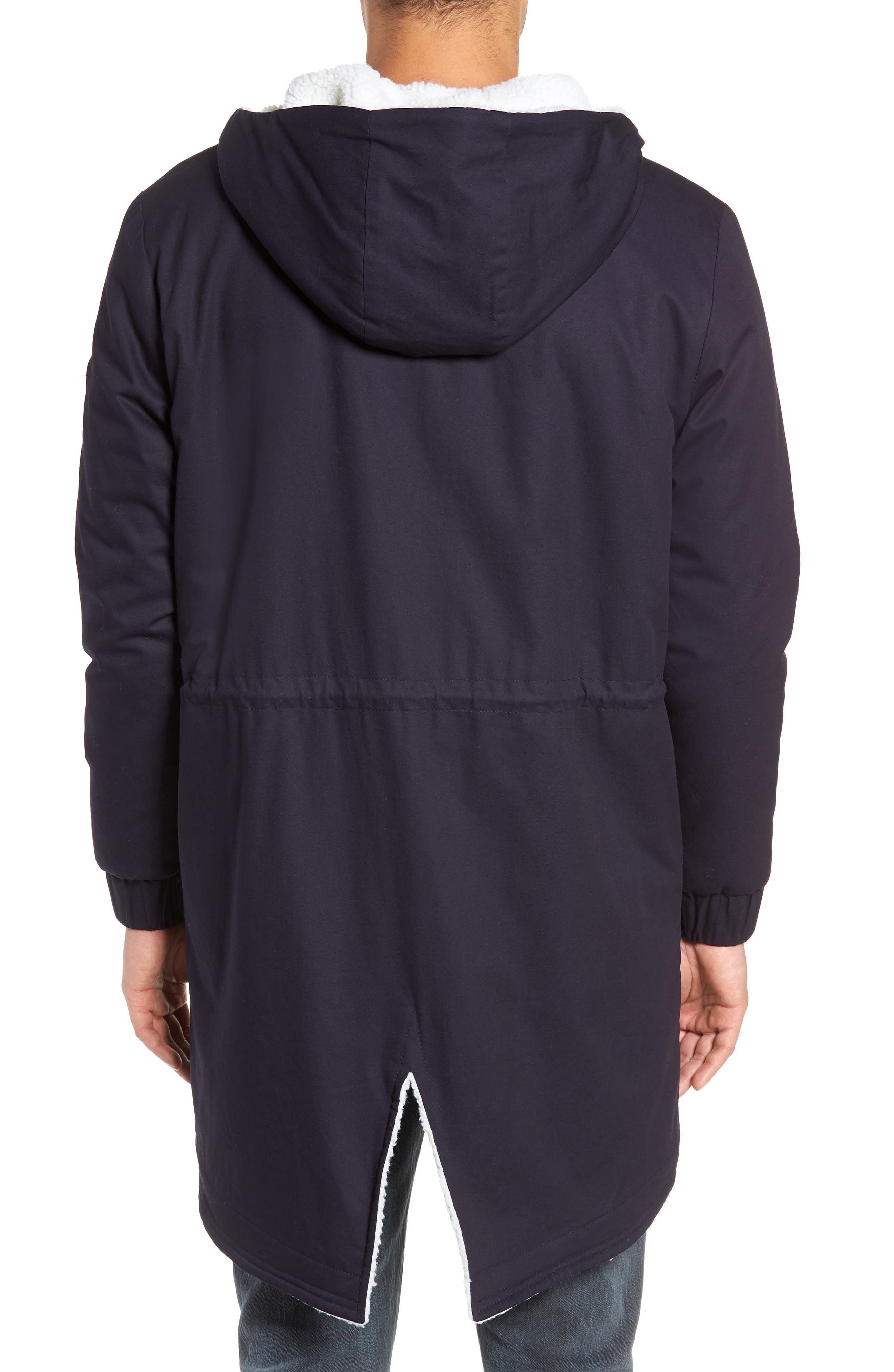 Fleece Lined Hooded Parka,                             Alternate thumbnail 2, color,                             NAVY