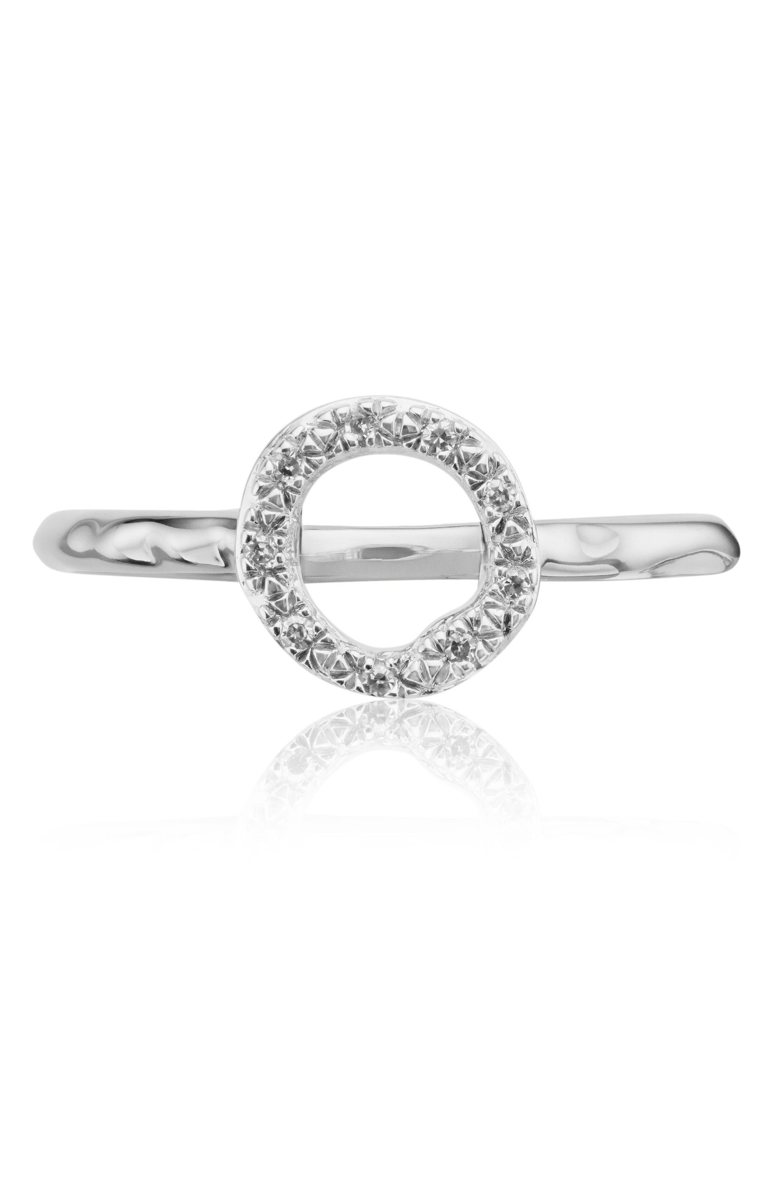 Riva Diamond Mini Circle Ring, Main, color, SILVER/ DIAMOND