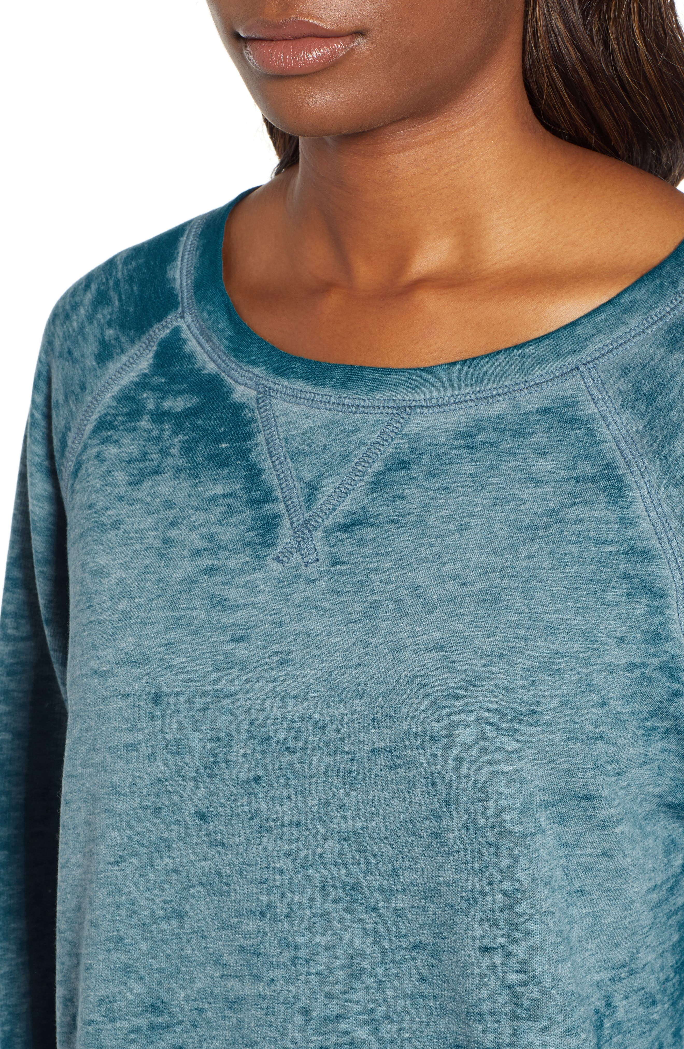 Burnout Sweatshirt,                             Alternate thumbnail 4, color,                             TEAL CORAL