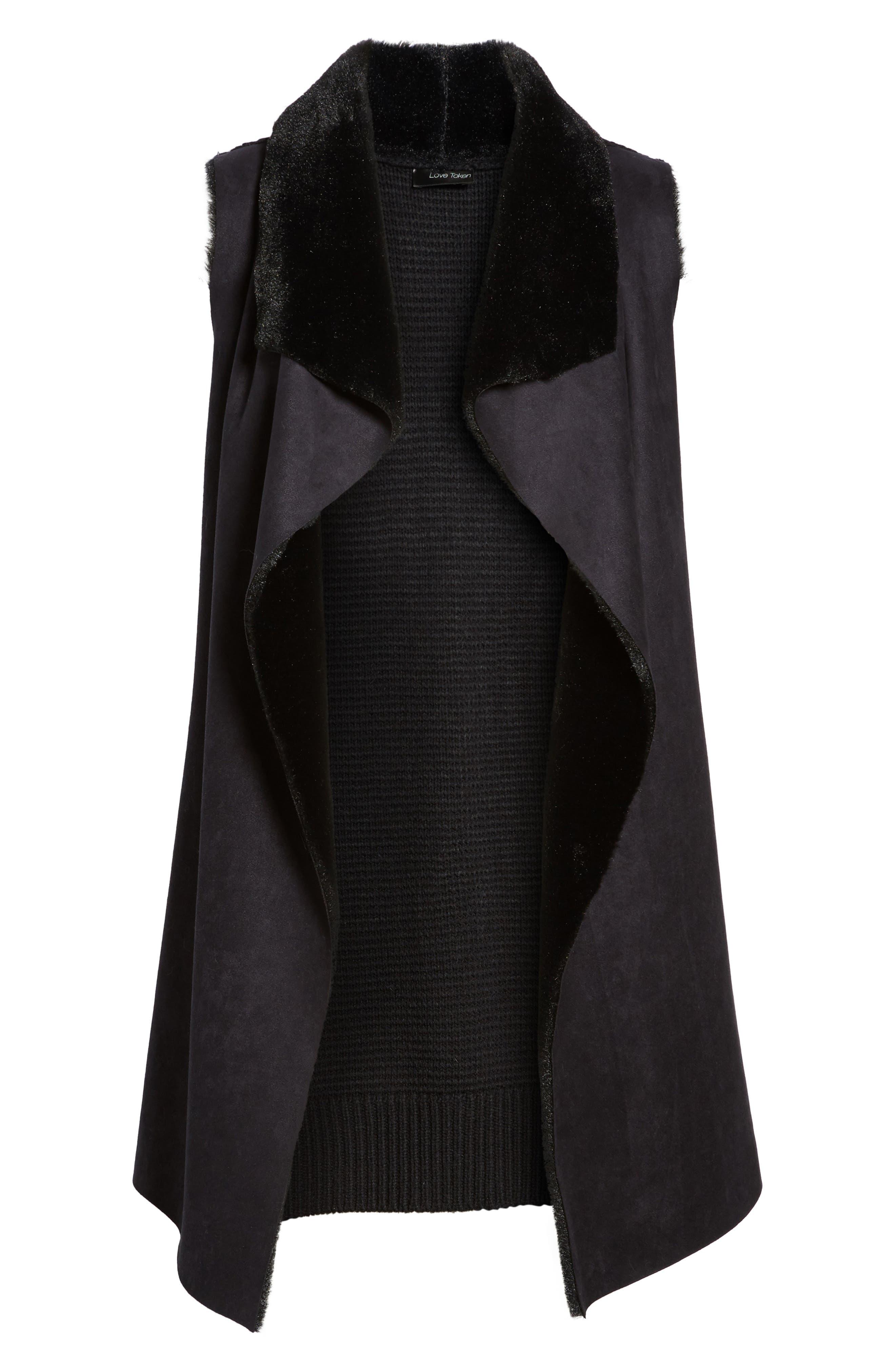 Faux Shearling Vest,                             Alternate thumbnail 5, color,                             001