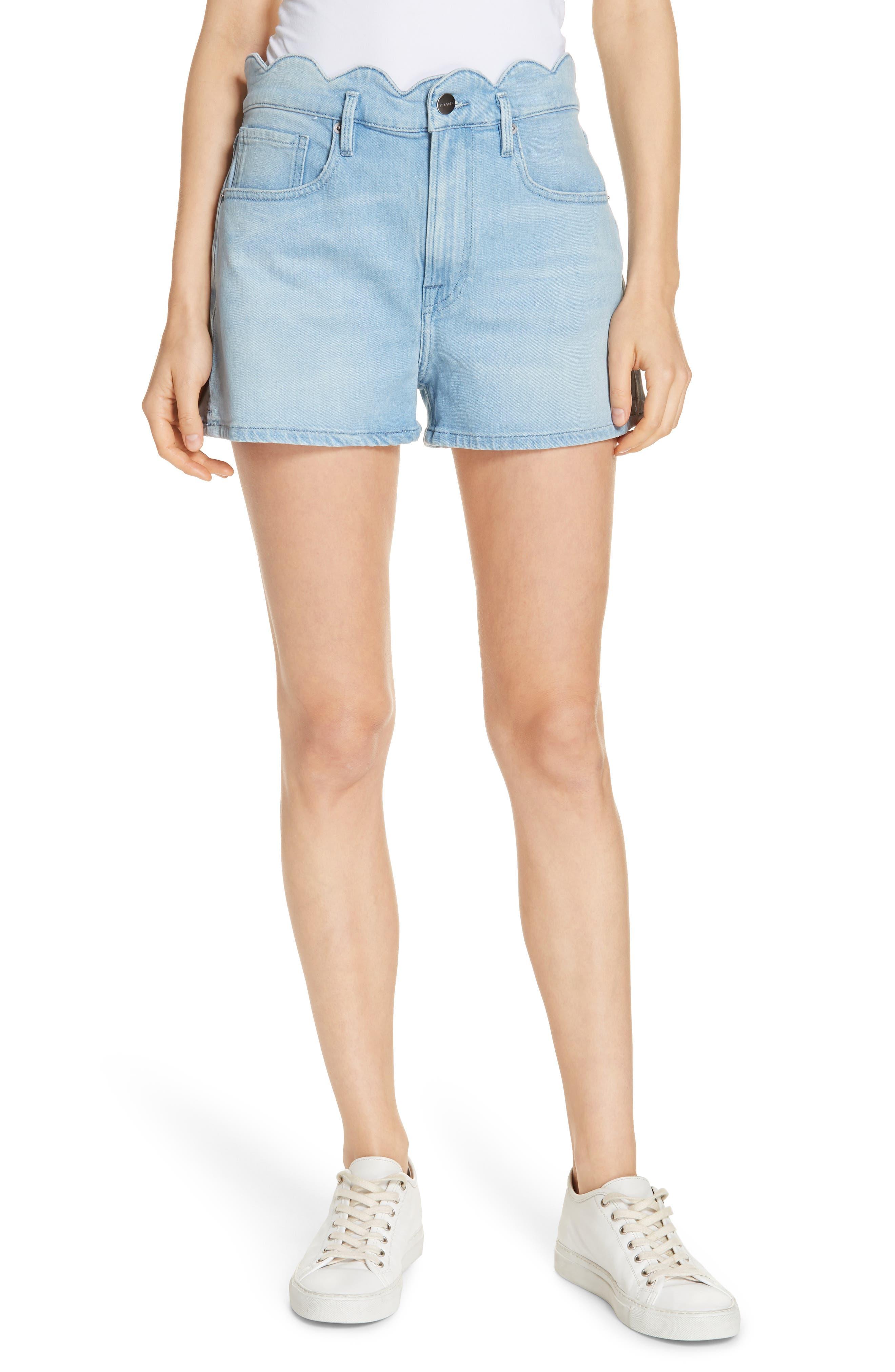 Scallop Waist Denim Shorts,                             Main thumbnail 1, color,                             WRIGHT