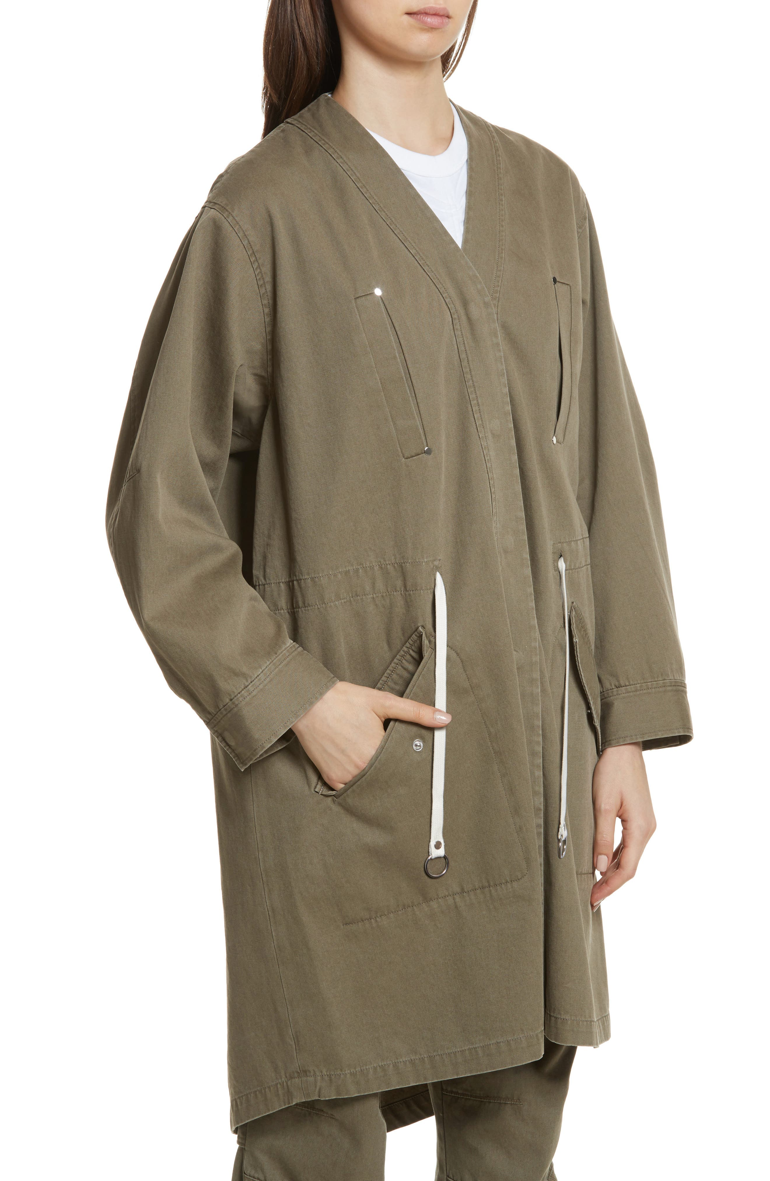 T by Alexander Wang Longline Twill Jacket,                             Alternate thumbnail 4, color,                             309