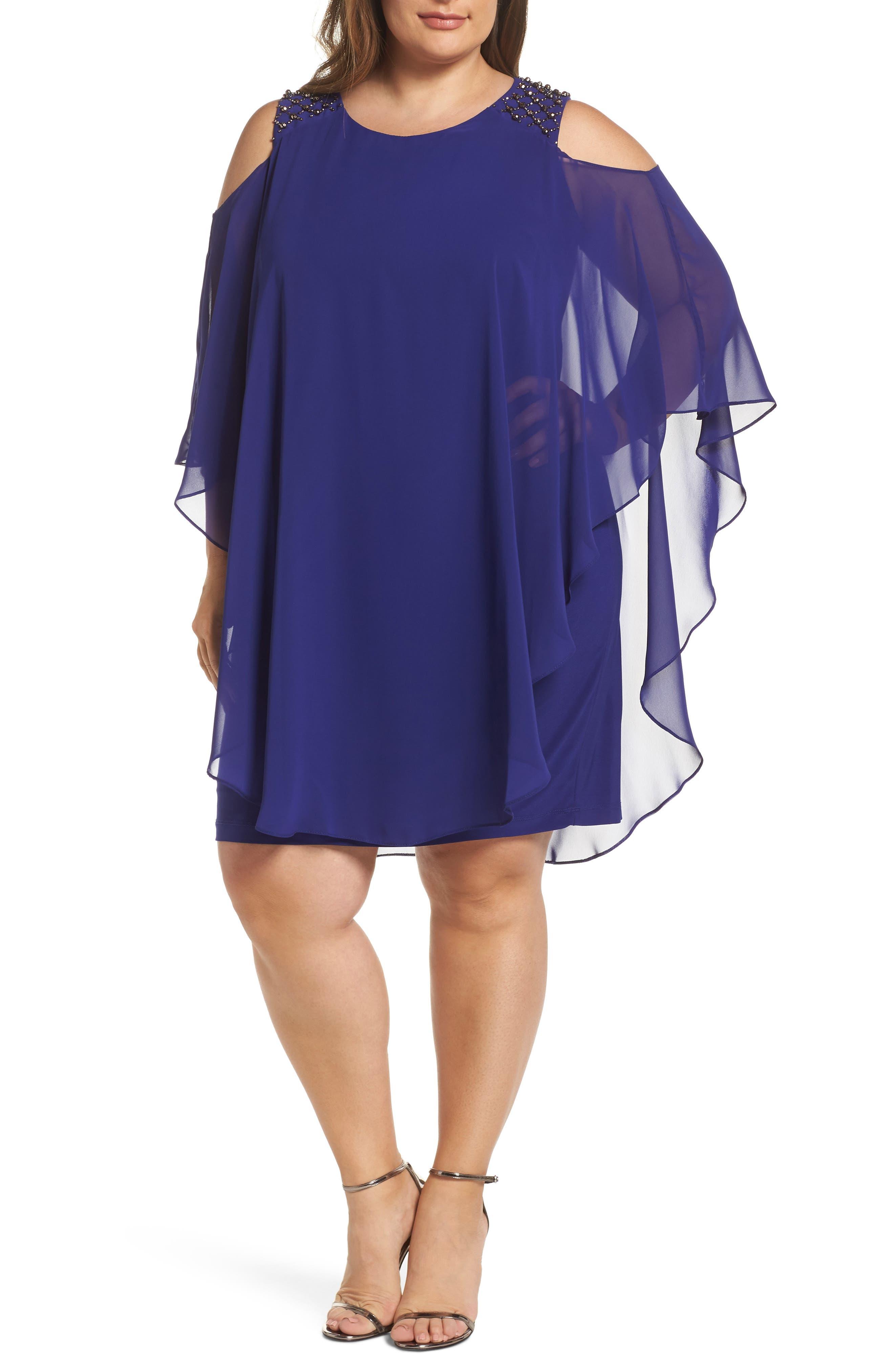 Plus Size Xscape Cold Shoulder Chiffon Overlay Cocktail Shift Dress, Blue