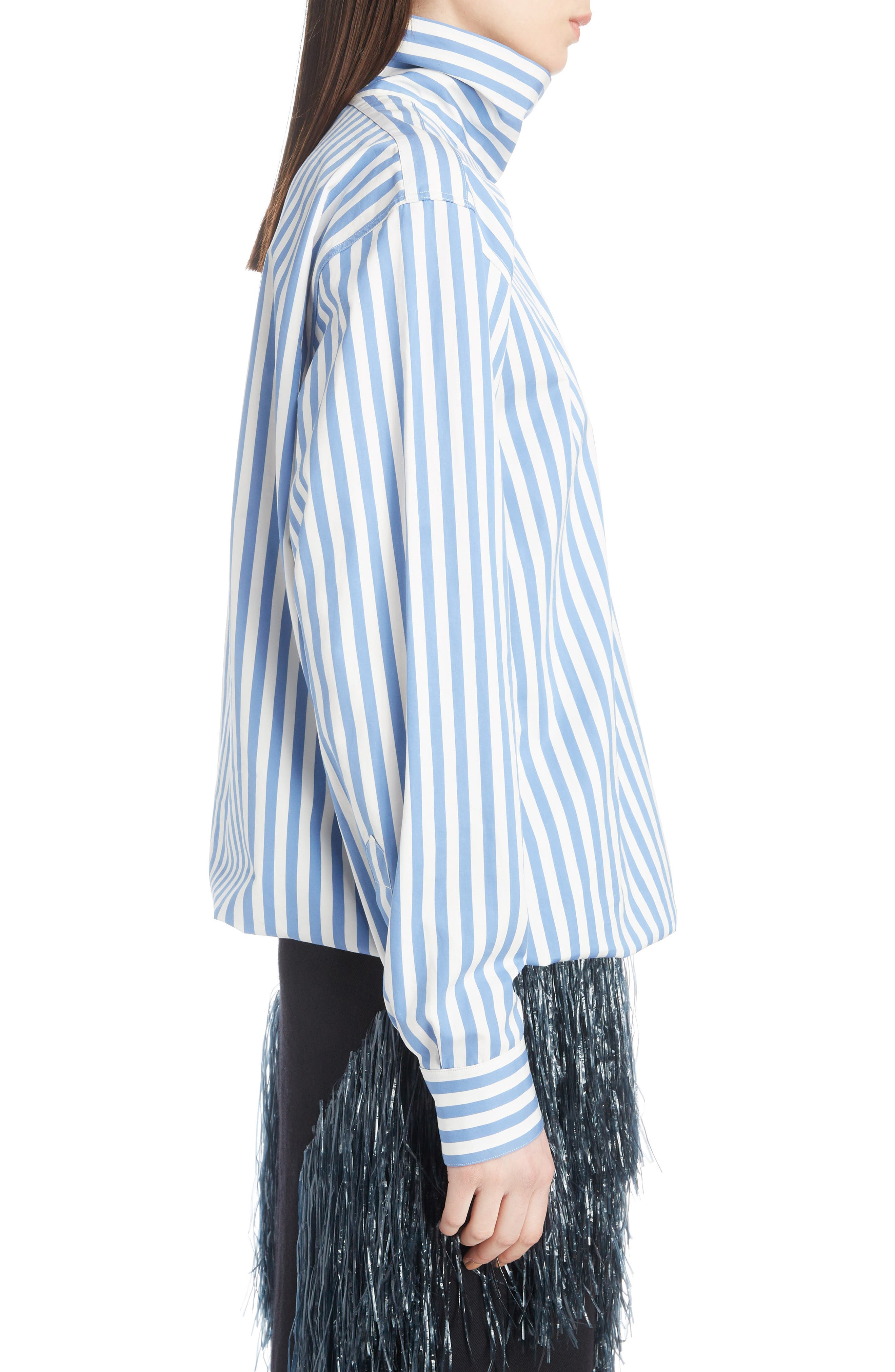 Stripe Poplin Blouse,                             Alternate thumbnail 3, color,                             MADONNA BLUE